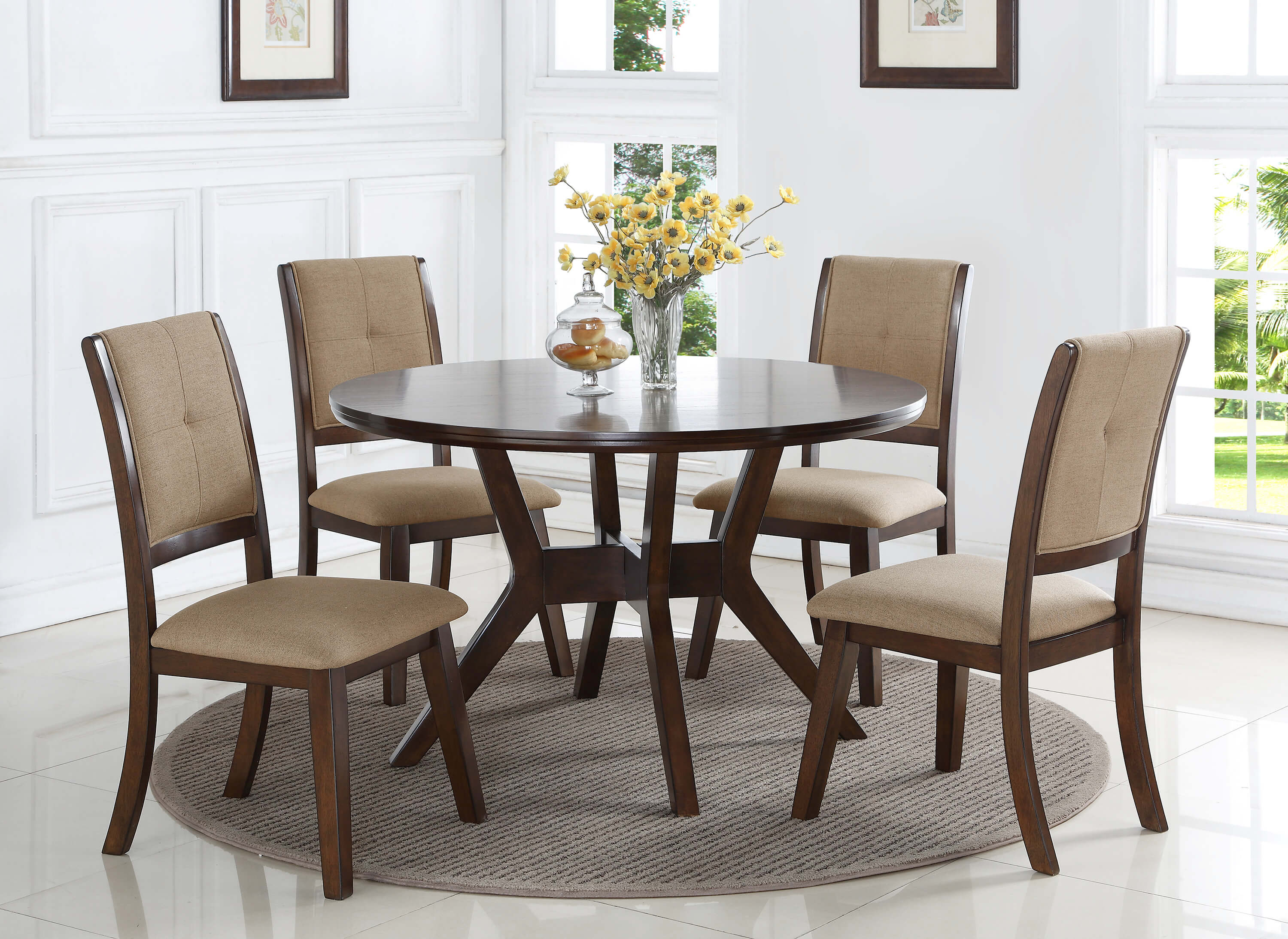 Modern Dining Set 5 Pc Barney Metro Modern Dining Set