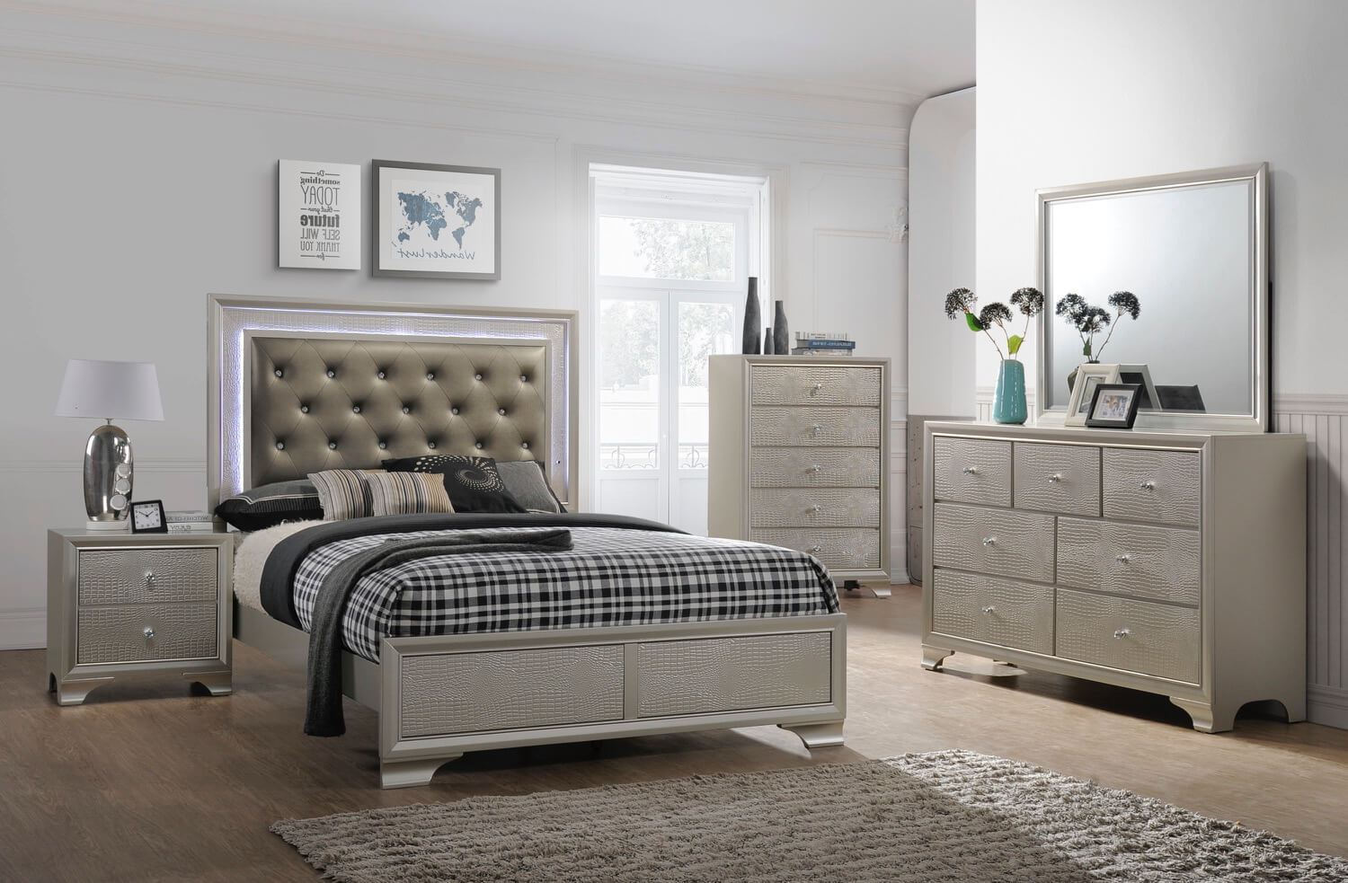 Queen Bed Set Lyssa Led Glam Bedroom Furniture Sets