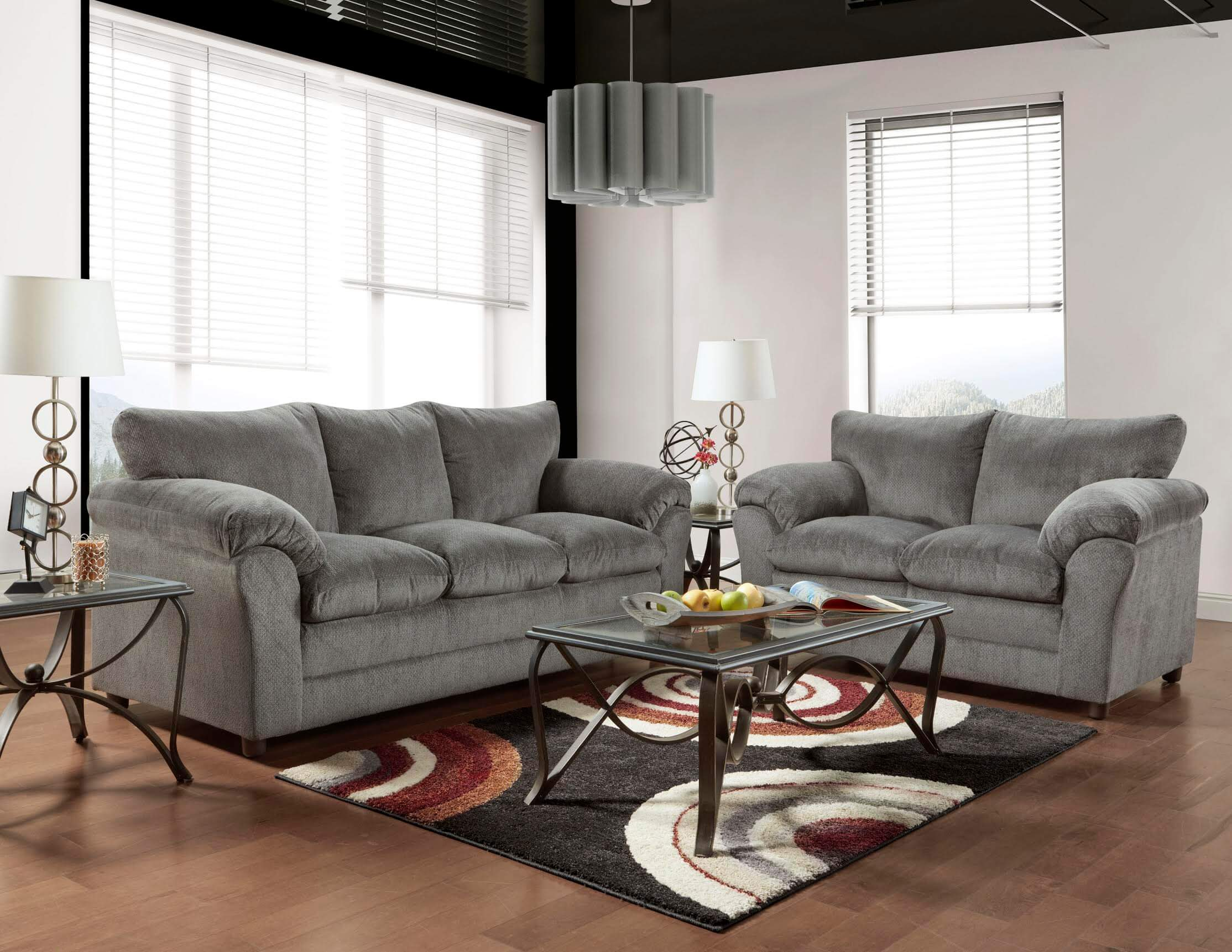 Living Room With Grey Sofa 1150 Kelly Grey Sofa And Loveseat Discontinued