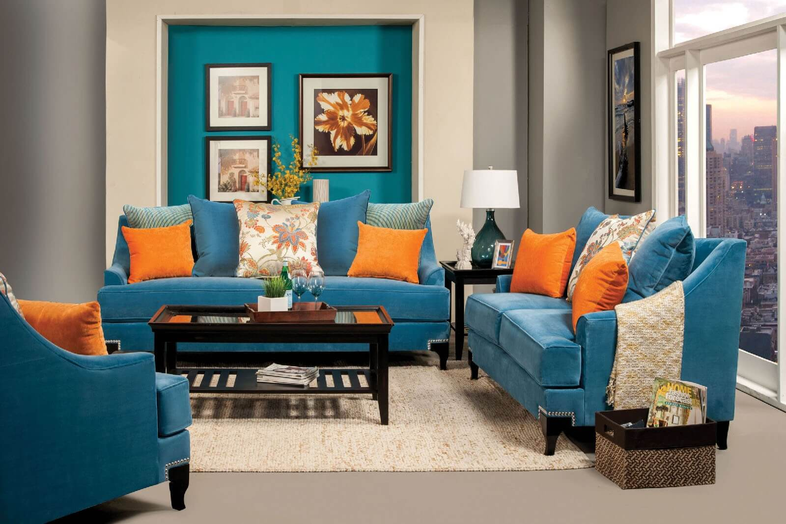 Peacock Living Room Vincenzo Peacock Blue Sofa And Loveseat