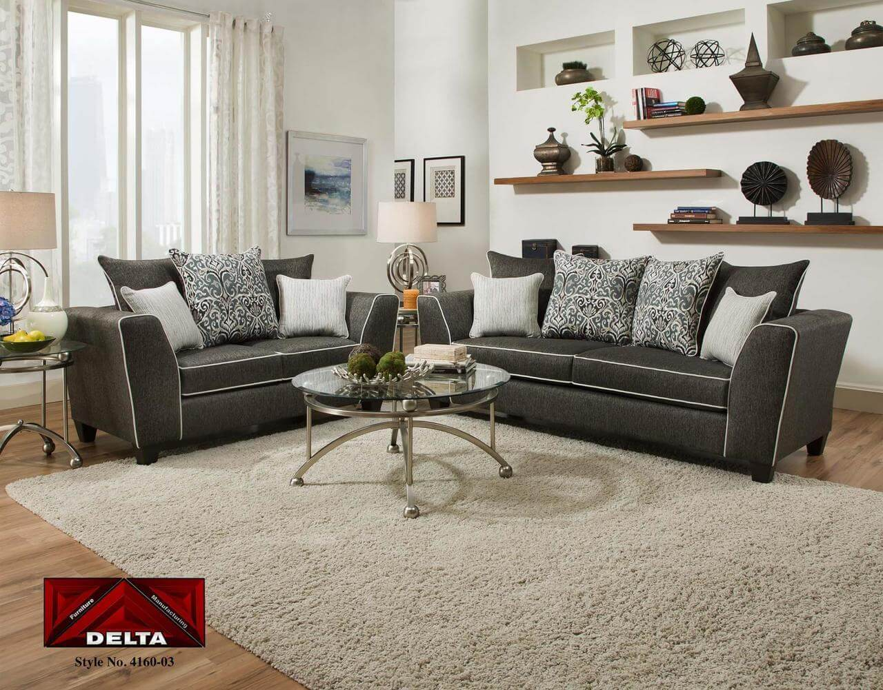 Sofa Outlet Paisley 4160 Vivid Onyx Sofa And Loveseat