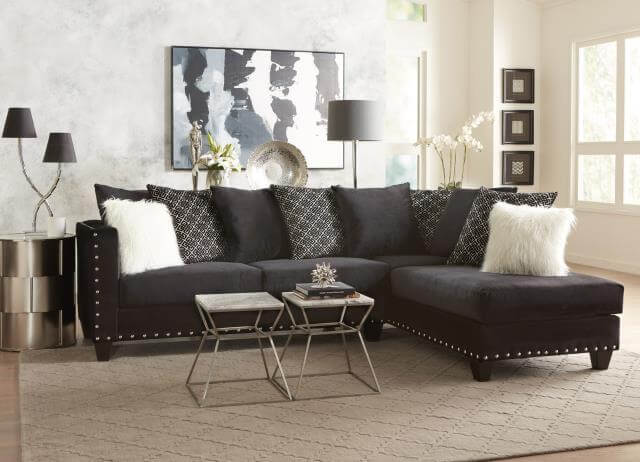 Couch Velour Implosion Black Sectional | Urban Furniture Outlet