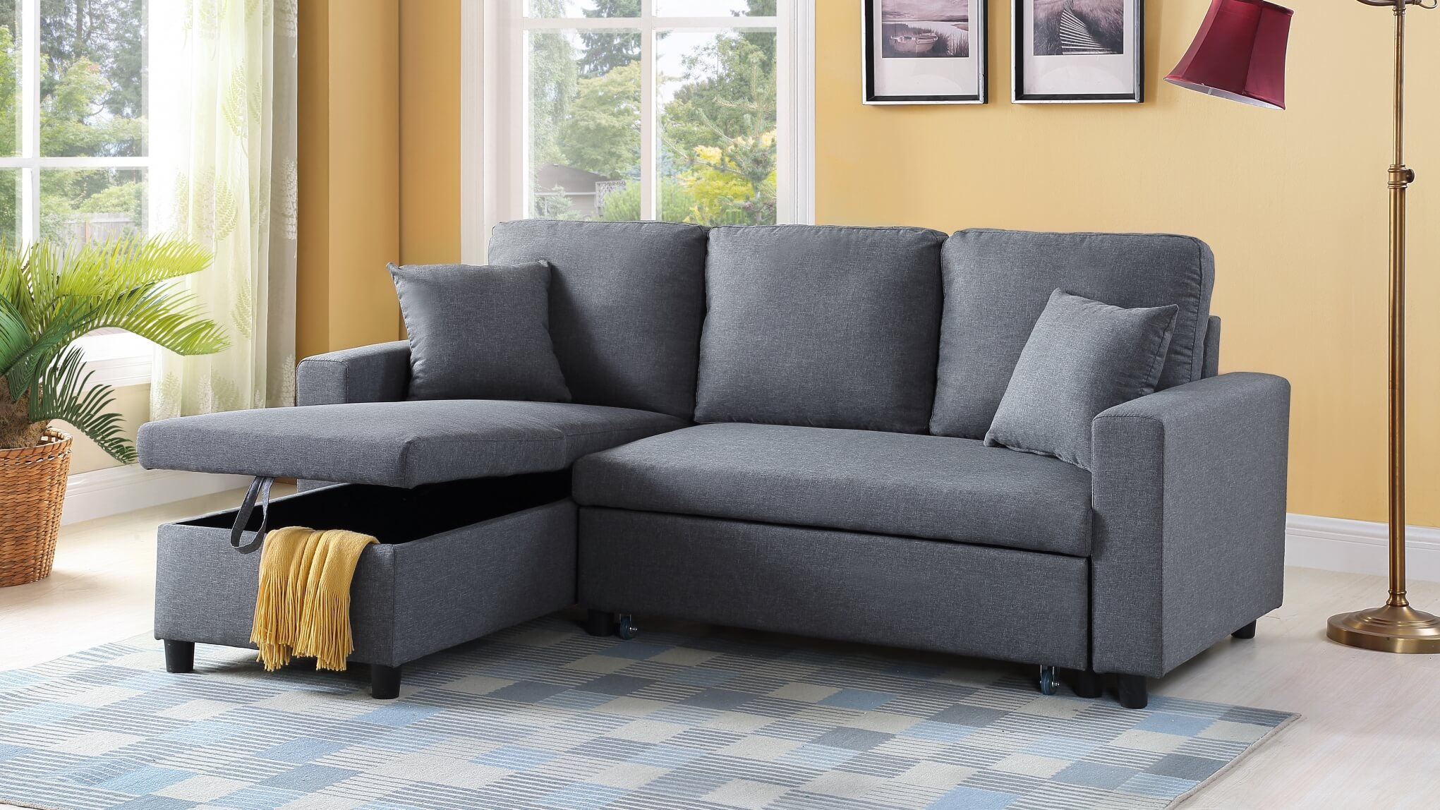 Apartment Sectional U312 Grey Apartment Sleeper Sectional