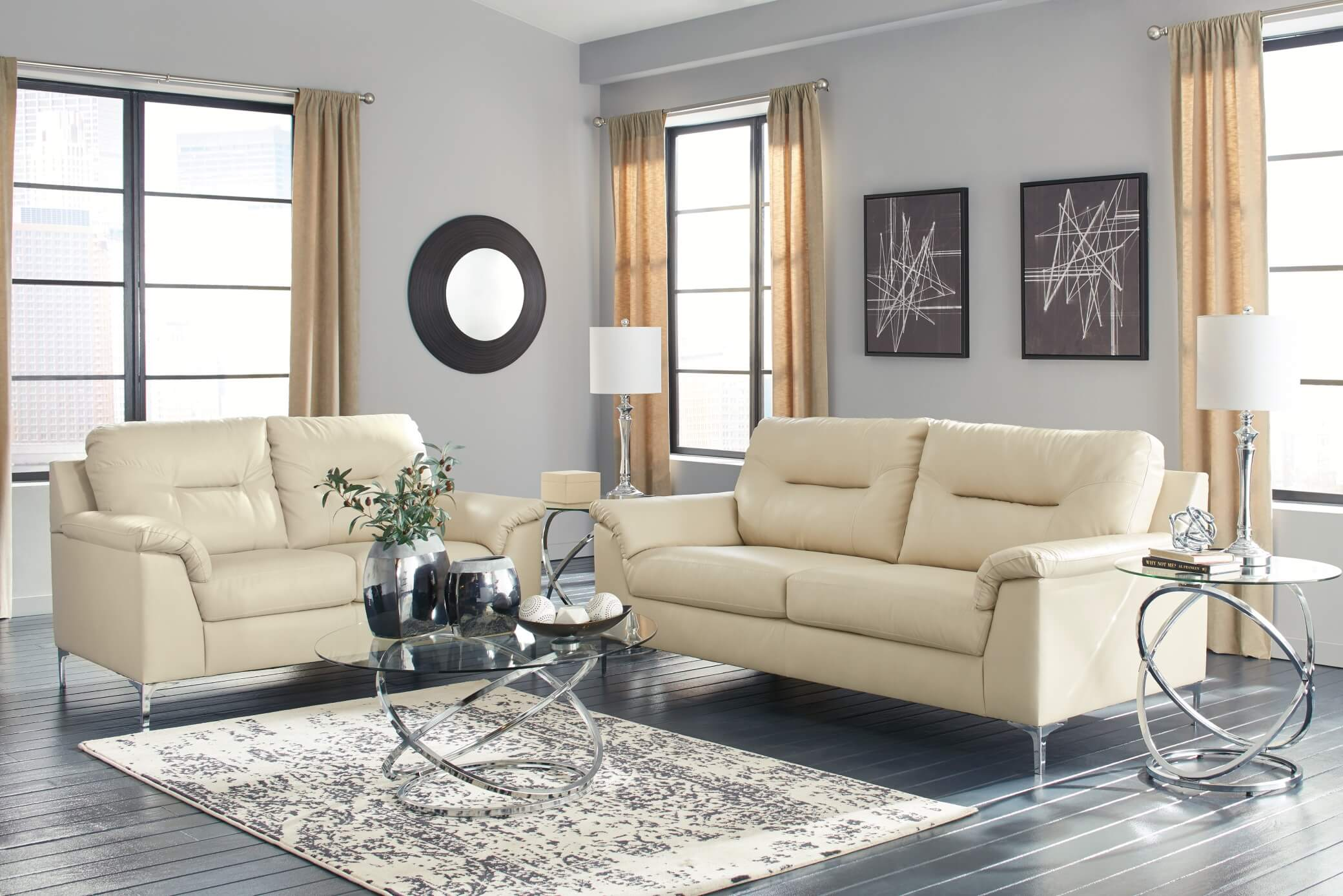 Contemporary Living Set 39602 Tensas Ice Contemporary Living Room Set