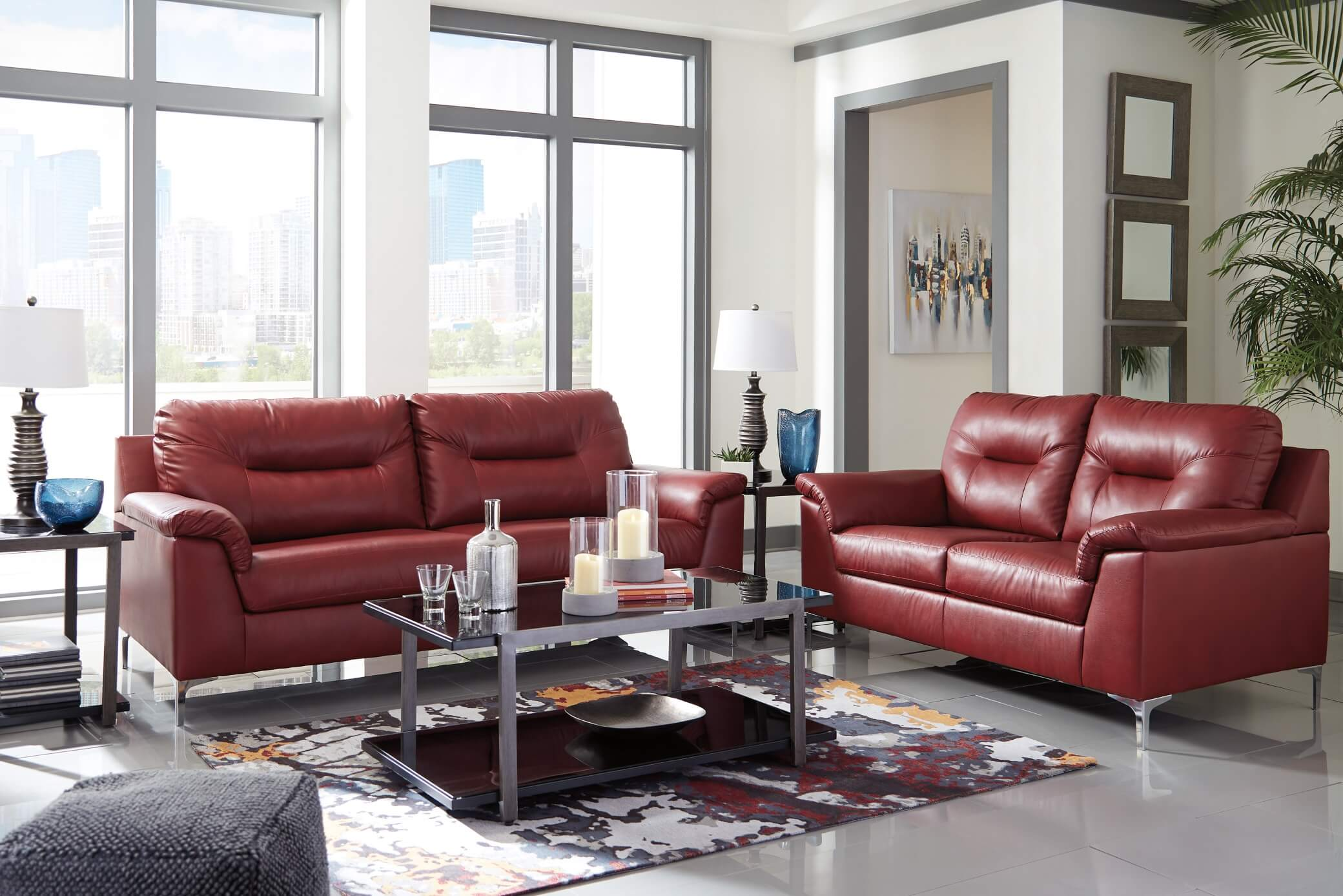 Contemporary Living Set 39603 Tensas Crimson Contemporary Living Room Set
