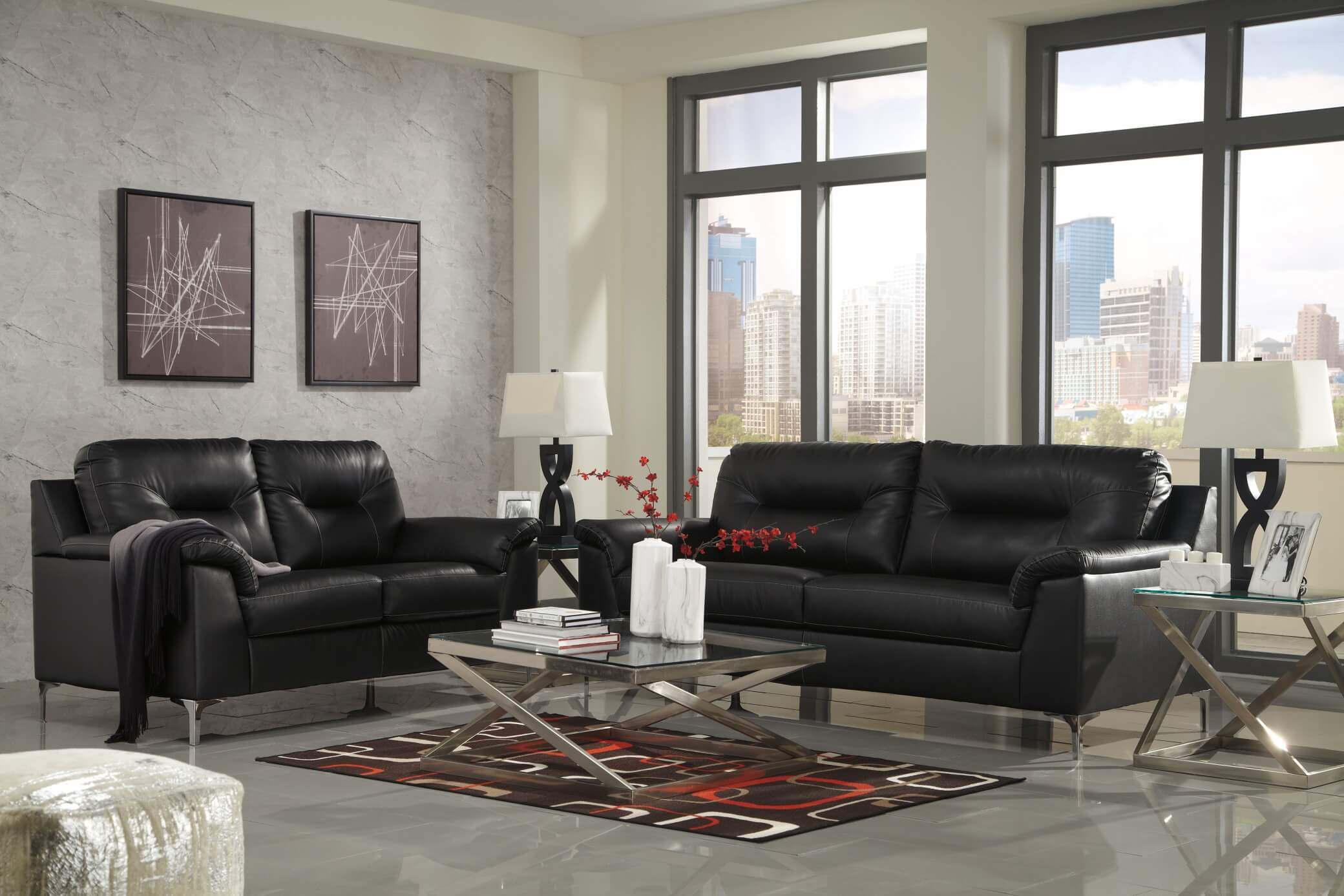 Contemporary Living Set 39604 Tensas Black Contemporary Living Room Set