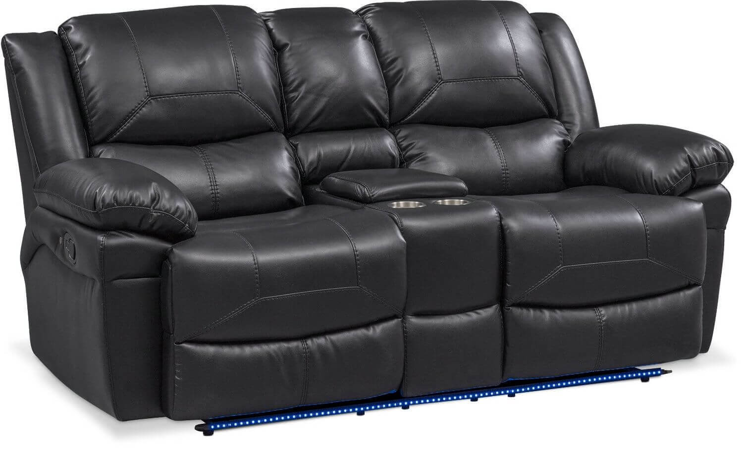Tron Black Power Reclining Set With Led Lights Living Room Furniture