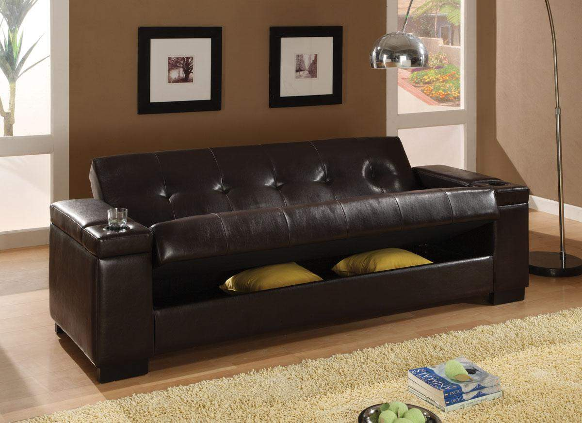 Couch Bed With Storage Sofa Beds Faux Leather Convertible Sofa Sleeper With