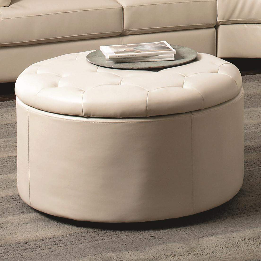 Soft Coffee Table With Storage Landen Round Leather Storage Ottoman With Button Tufted