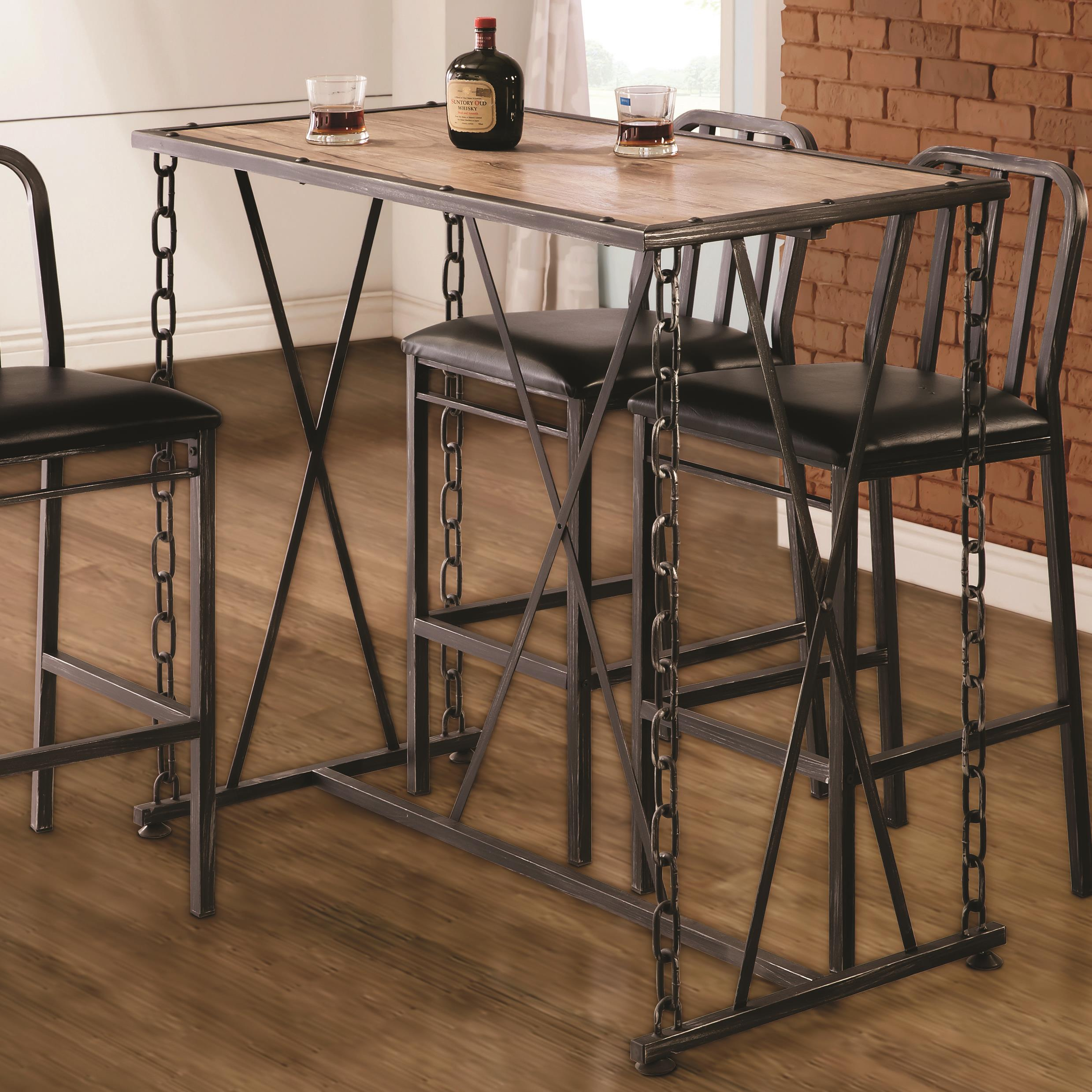 Table Bar Industriel 10069 Rustic Industrial Chain Link Bar Table Quality