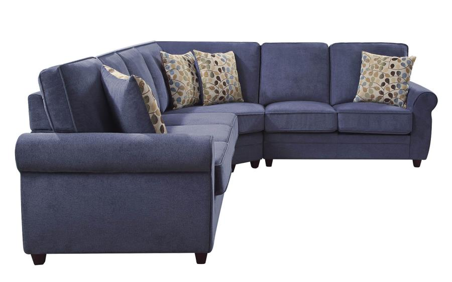 Sofa Model L Kendrick Transitional Style Blue Chenille Fabric Casual