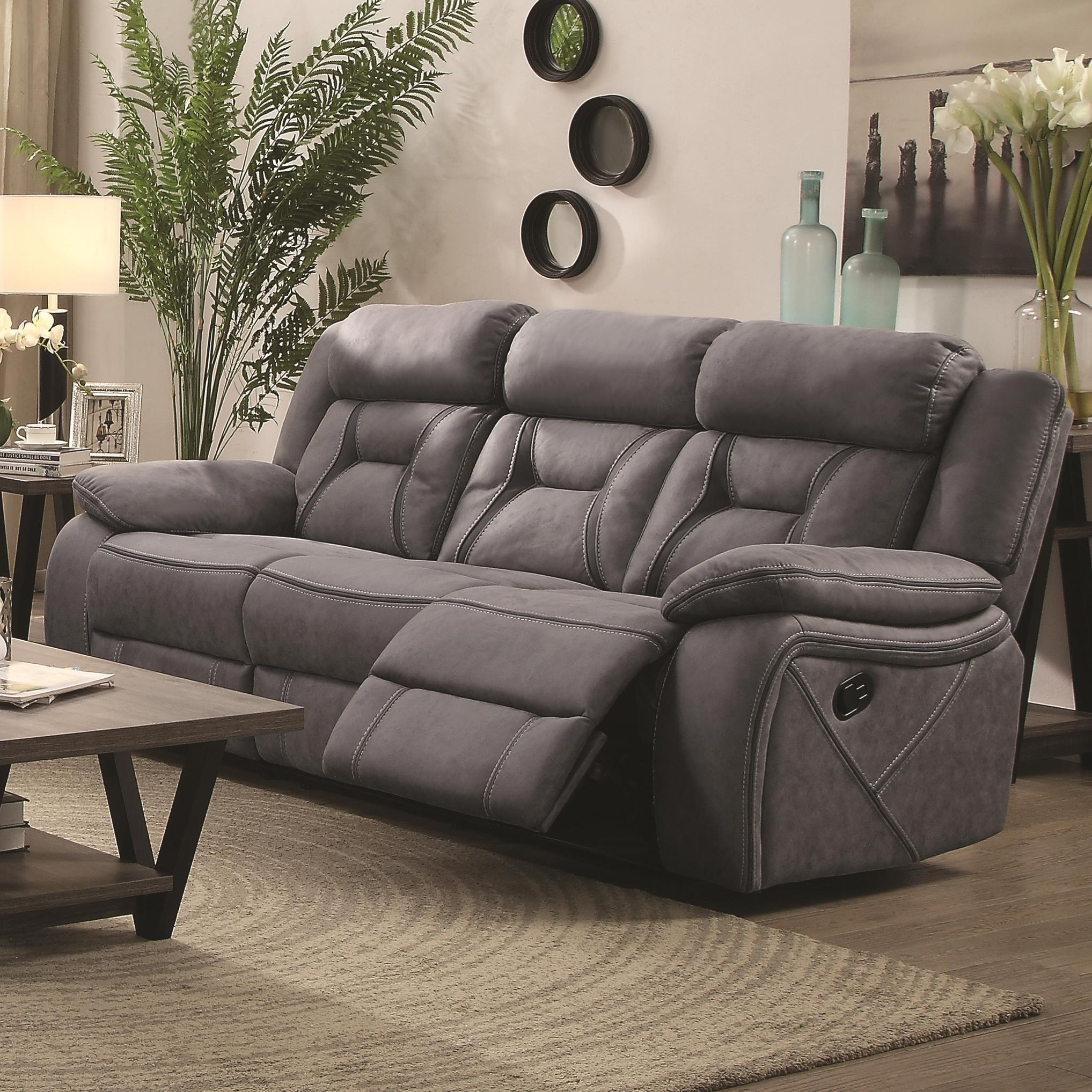 Sofa For Sale Houston Houston Casual Pillow Padded Reclining Sofa With Contrast Stitching
