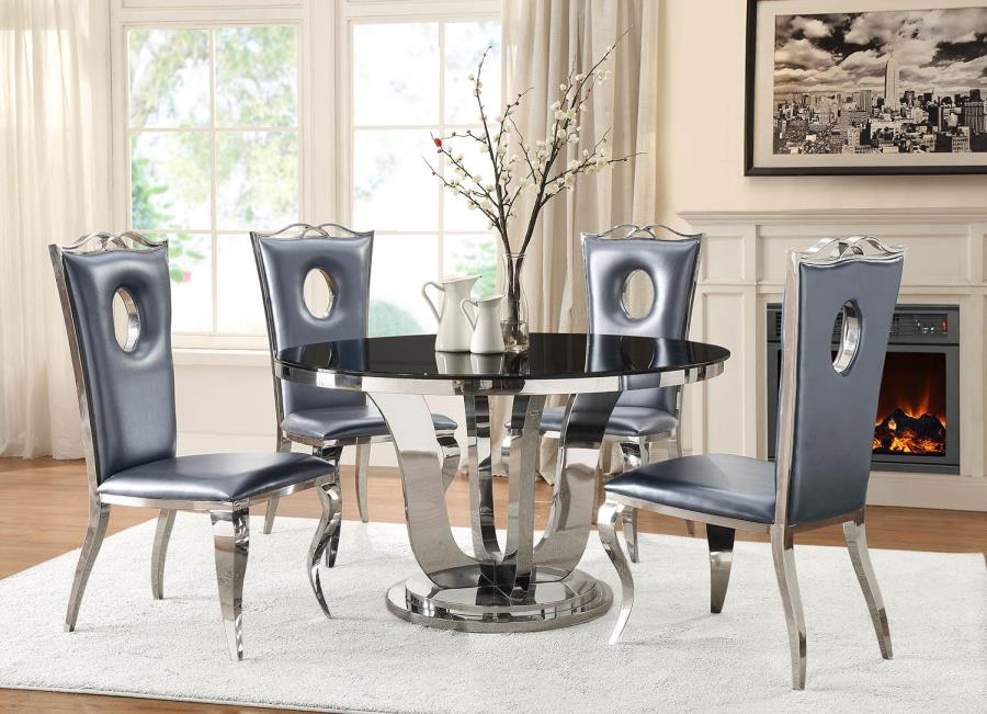 Sofa For Grey Living Room Blasio Glam Five Piece Dining Set With Round Table And