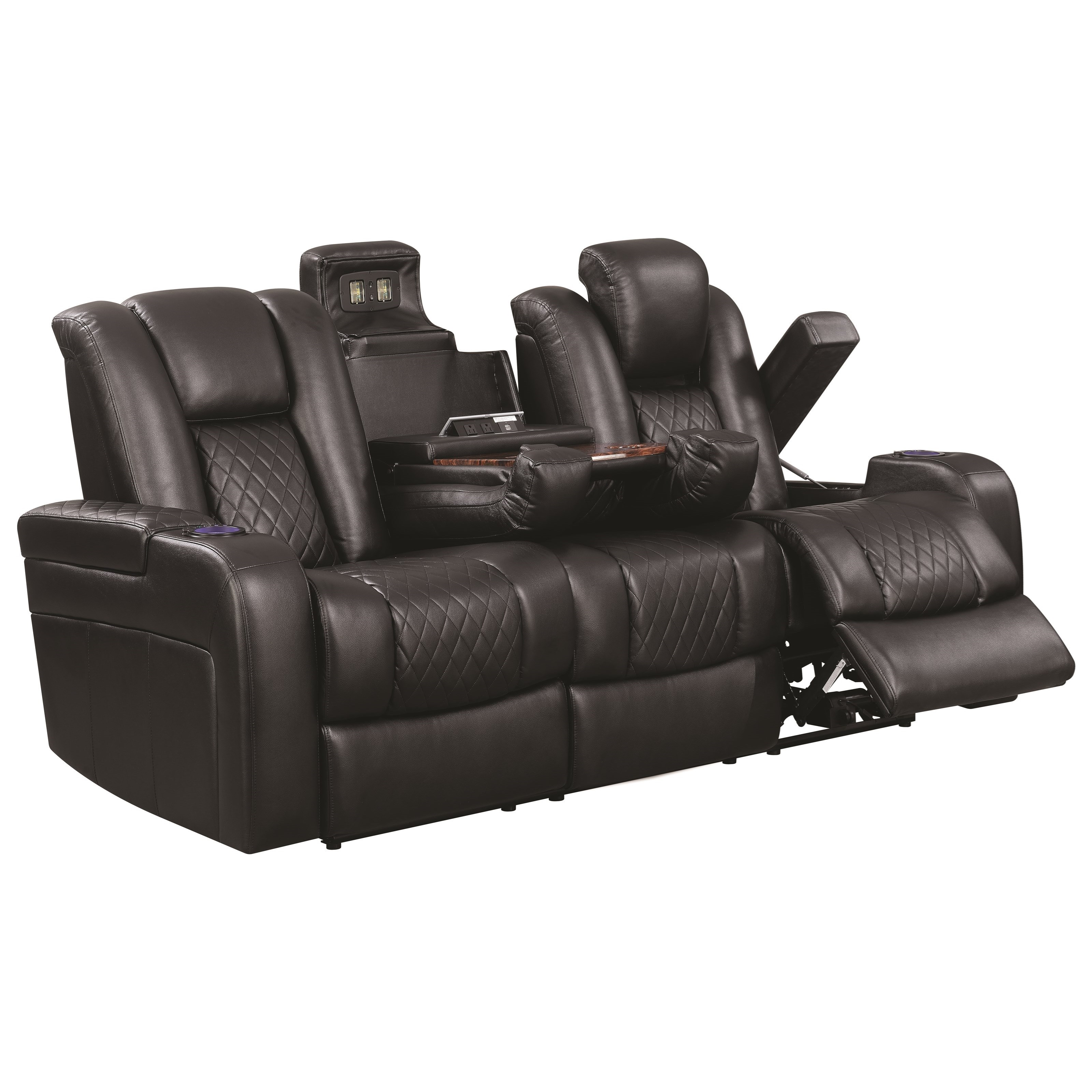 Couch Sofas Delangelo Theater Power Leather Reclining Sofa With Cup