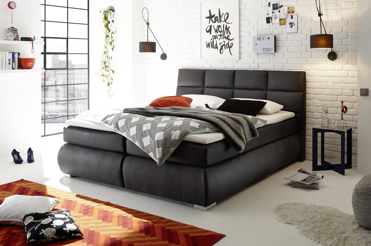 Boxspringbett Anthrazit Black Red White Boxspringbett Kosali 180x200 Anthrazit