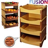 4 Tier Rattan Plastic Vegetable/Fruit Rack/Basket Kitchen ...
