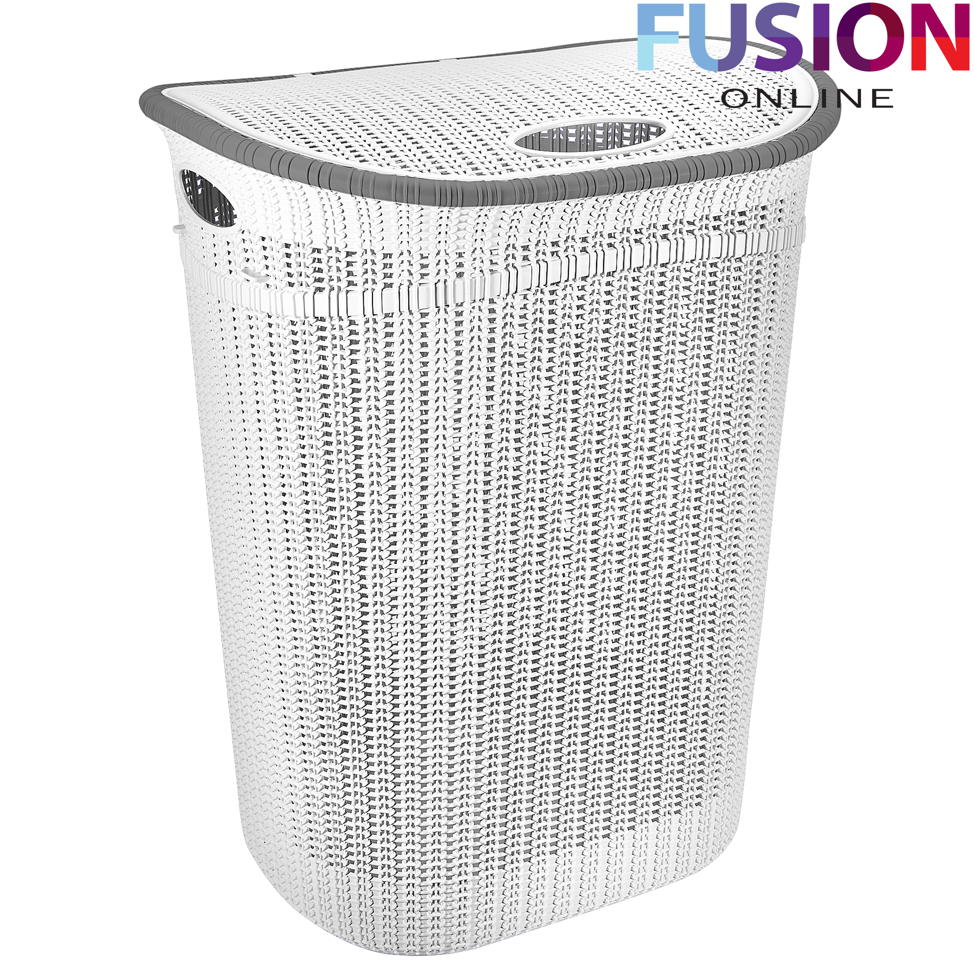 White Laundry Hamper With Lid Plastic Laundry Basket Washing Clothes Bin Rattan Knot