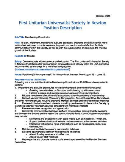 Membership Coordinator Job Description 2018 (1) - First Unitarian