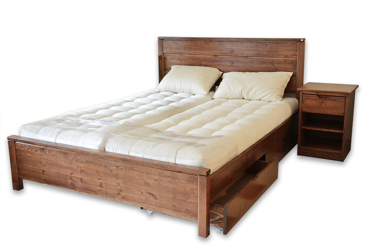 Lit Double En Bois Queen Size Bed Frame With Drawers