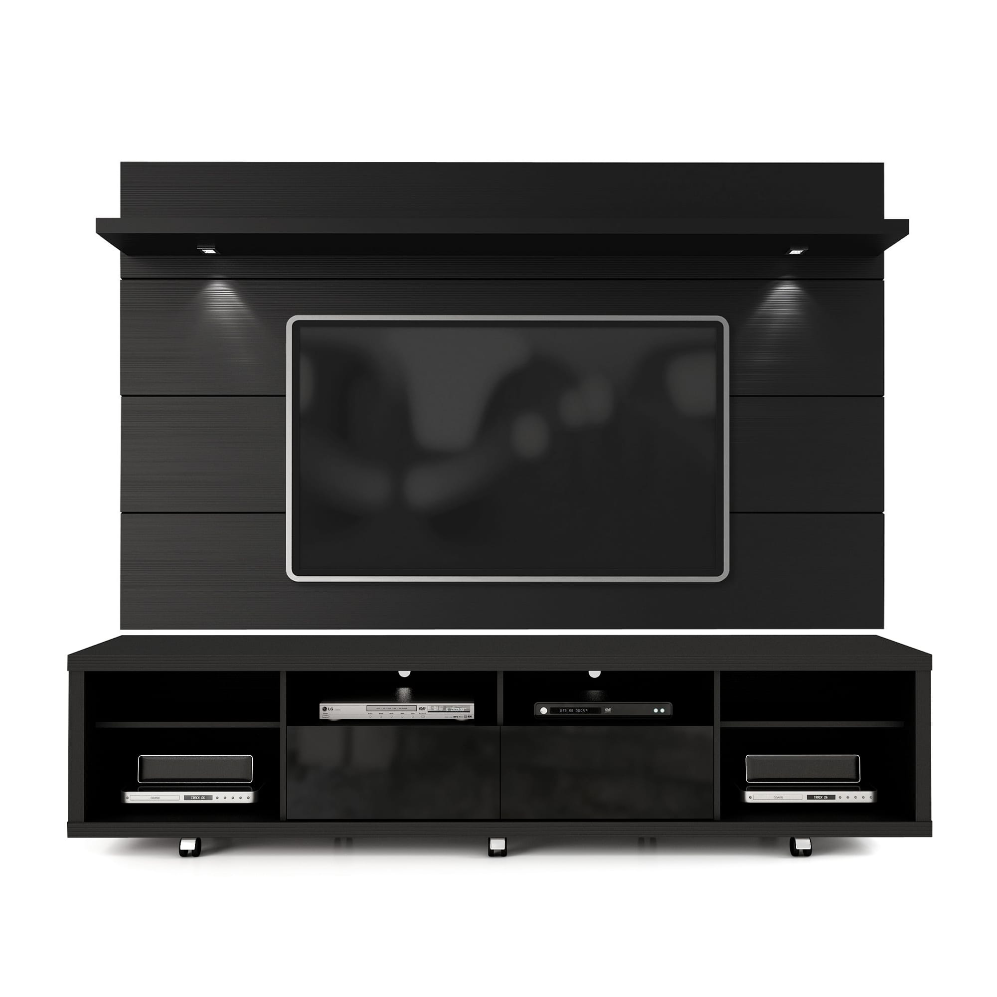 Tv Paneel Cabrini Black Tv Stand And Floating Wall Tv Panel W 2 2 Led