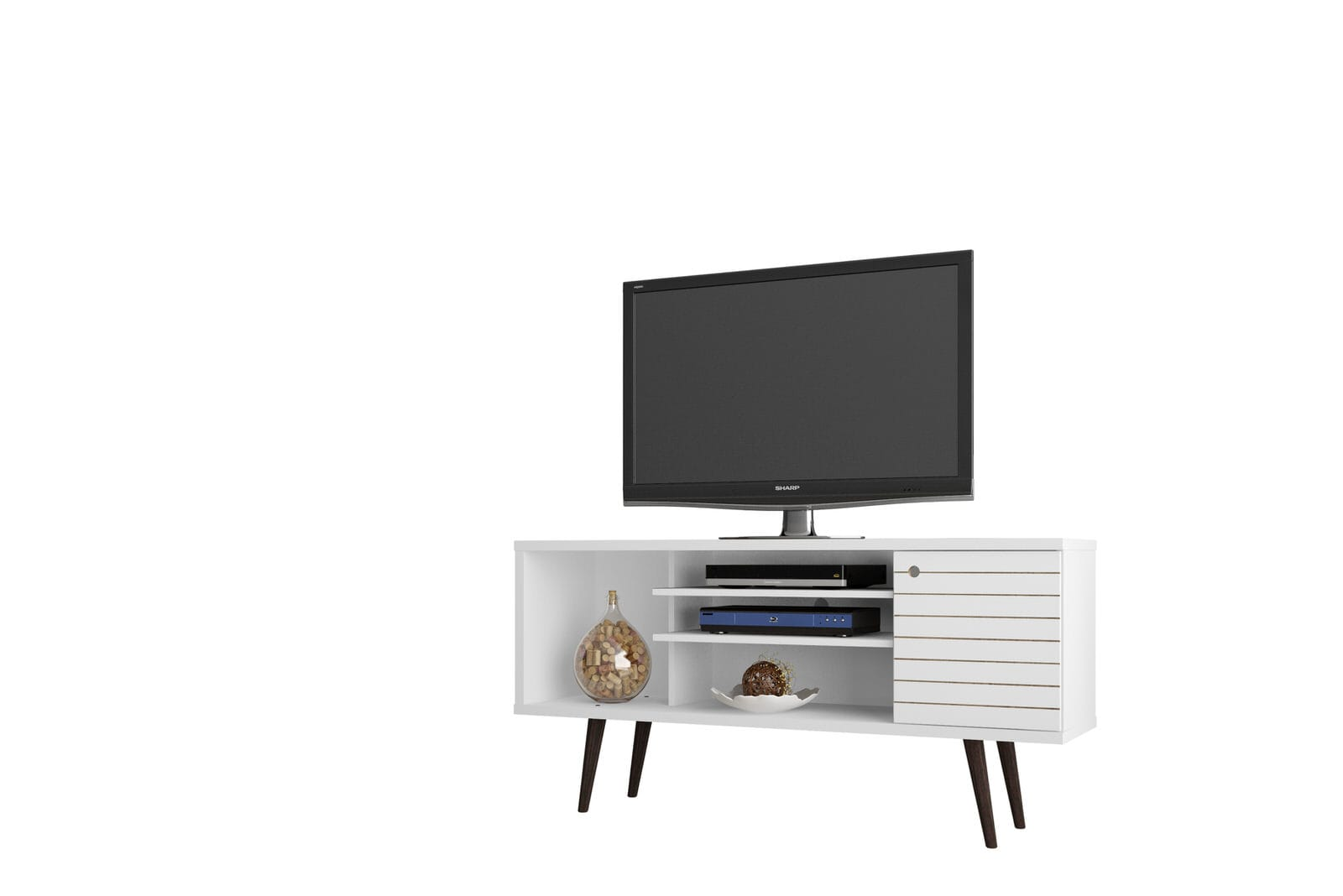 Modern Tv Liberty White 53 14 Inch Mid Century Modern Tv Stand W 5 Shelves 1 Door Solid Wood Legs By Manhattan Comfort