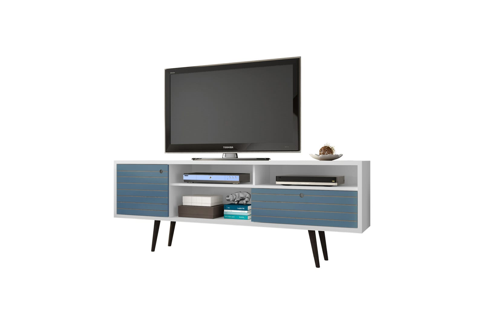 Modern Tv Liberty White Aqua Blue 70 86 Inch Mid Century Modern Tv Stand W 4 Shelving Spaces 1 Drawer Solid Wood Legs By Manhattan