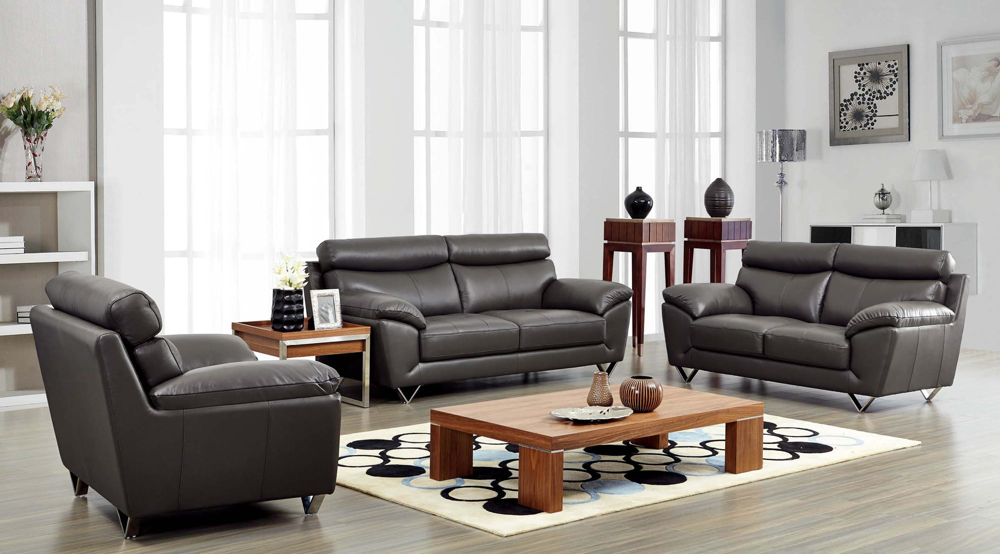 Accent Chairs To Go With Brown Leather Sofa 8049 Leather Chair By Esf