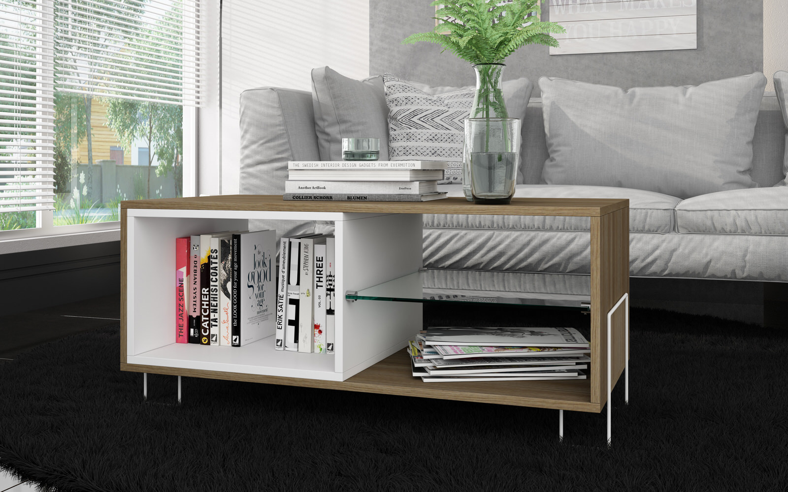 Boden Sofa Boden White Oak 35 43 Inch Tv Stand W 3 Shelves By Manhattan Comfort
