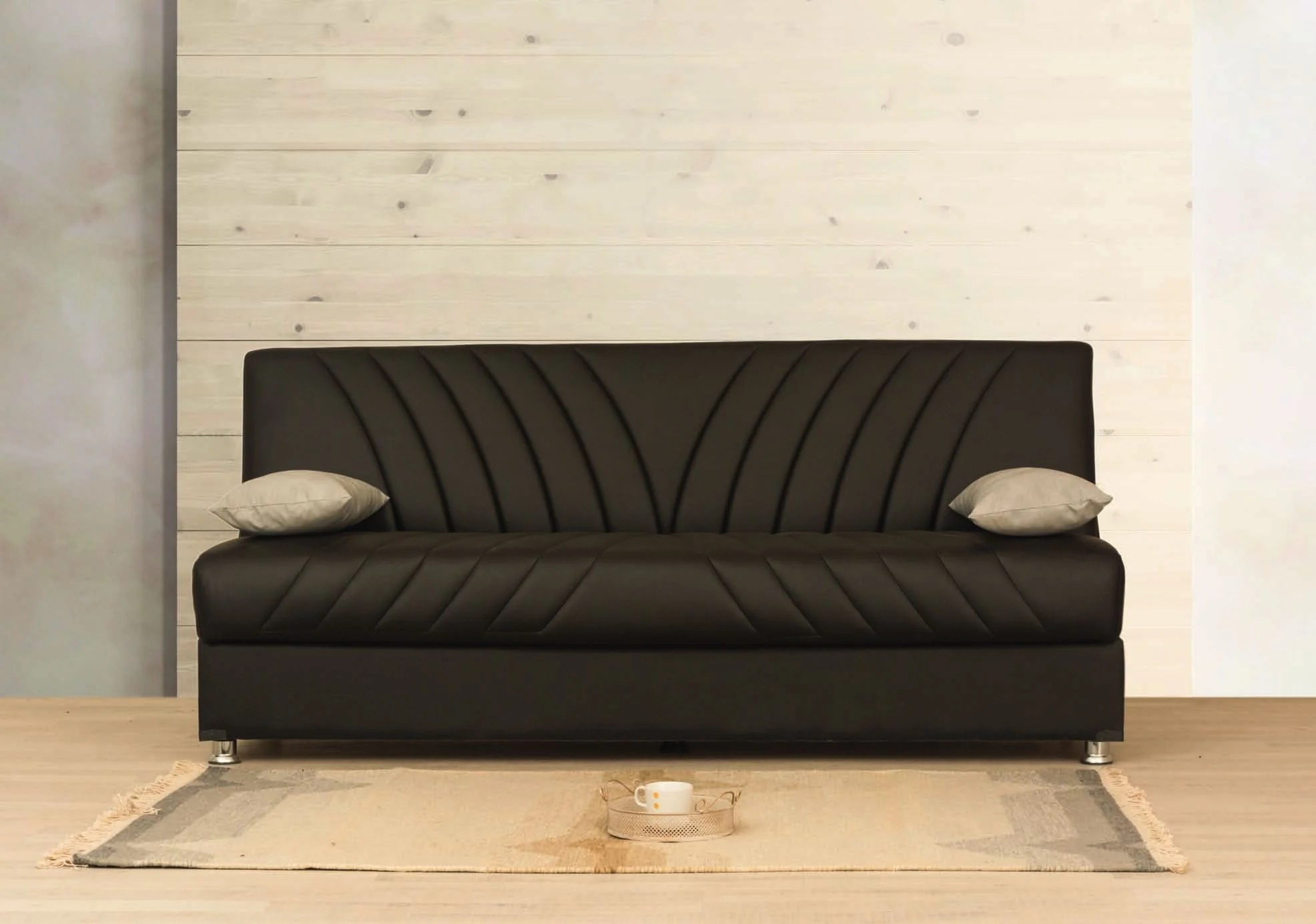 Binni Brown Pu Leather Sofa Bed By Alpha Furniture