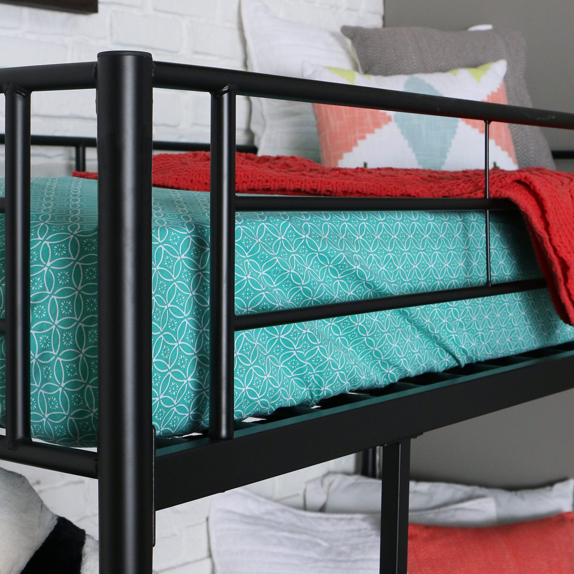 Bed With Desk Sunset Twin Loft Bed With Desk And Shelves Black By Walker Edison