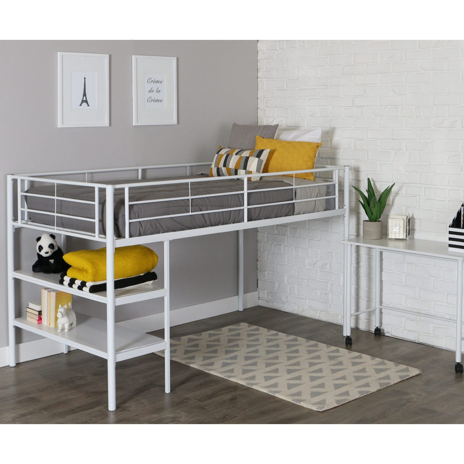Bed With Desk Sunset Twin Loft Bed With Desk And Shelves White By Walker Edison