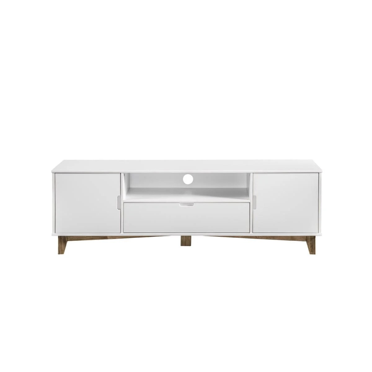 Tv Sideboard Modern Glenmore Modern 1 Drawer 62 99 Inch White Natural Wood Tv Stand By Manhattan Comfort