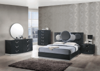 Dolce Dark Grey Glossy Bedroom Set by Global Furniture