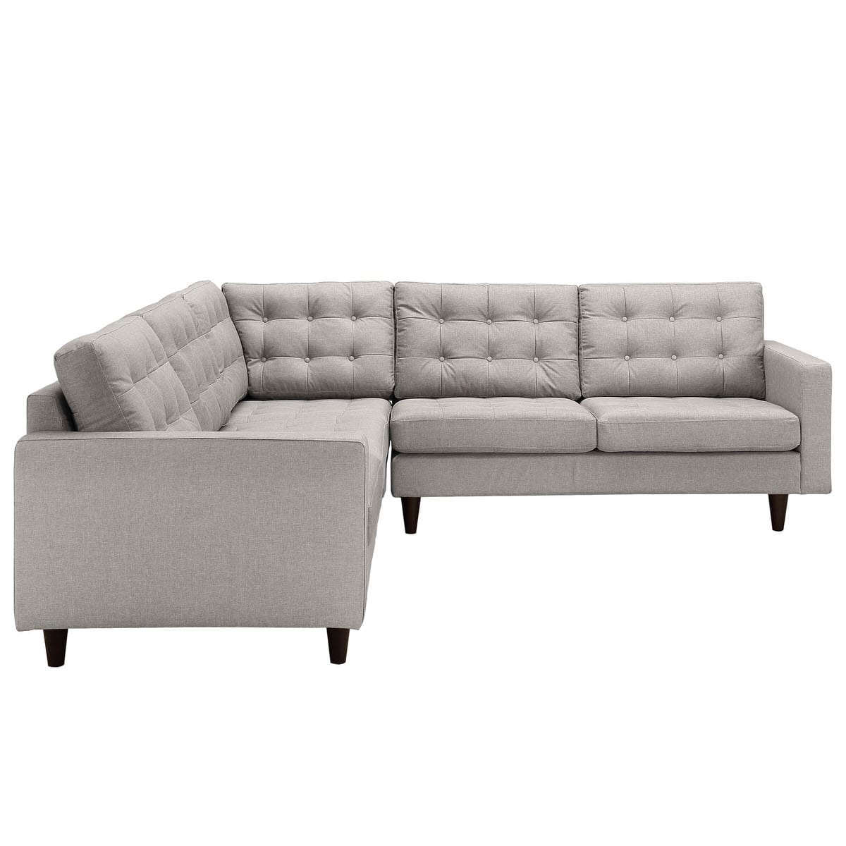 Sofa Set Action Empress 3 Piece Upholstered Fabric Sectional Sofa Set Light Gray By Modway