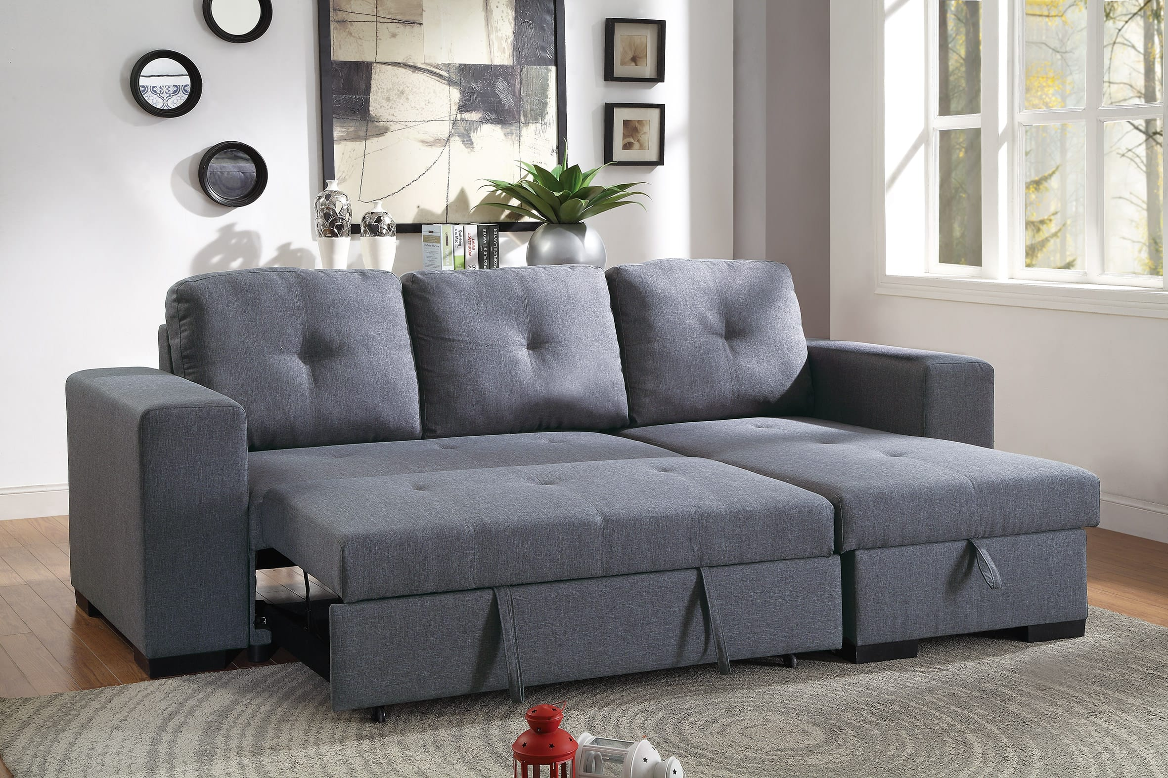 Blue Sectional F6910 Blue Gray Convertible Sectional Sofa Set By Poundex
