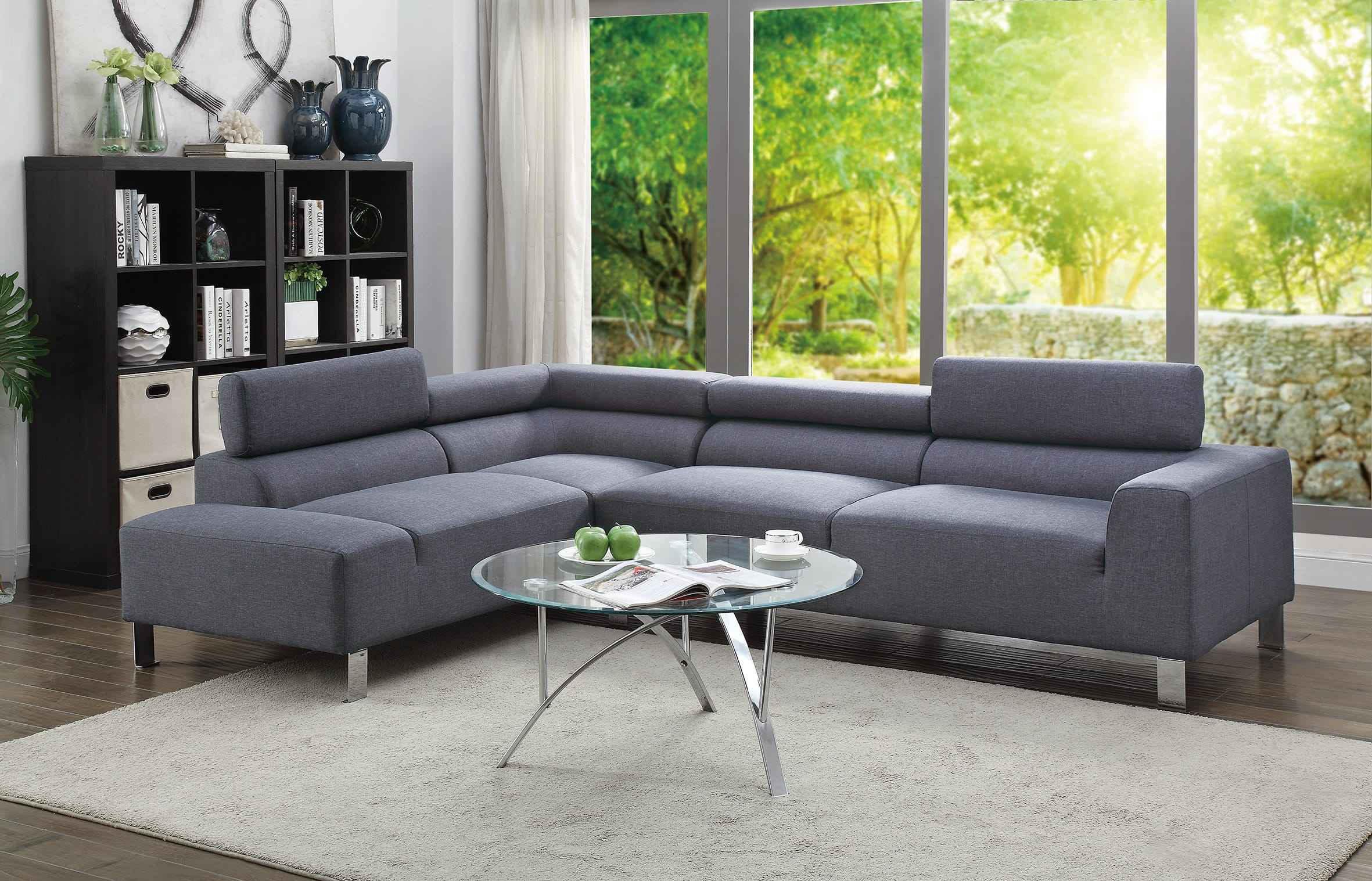 Blue Sectional F7315 Blue Gray 2 Pcs Sectional Sofa By Poundex