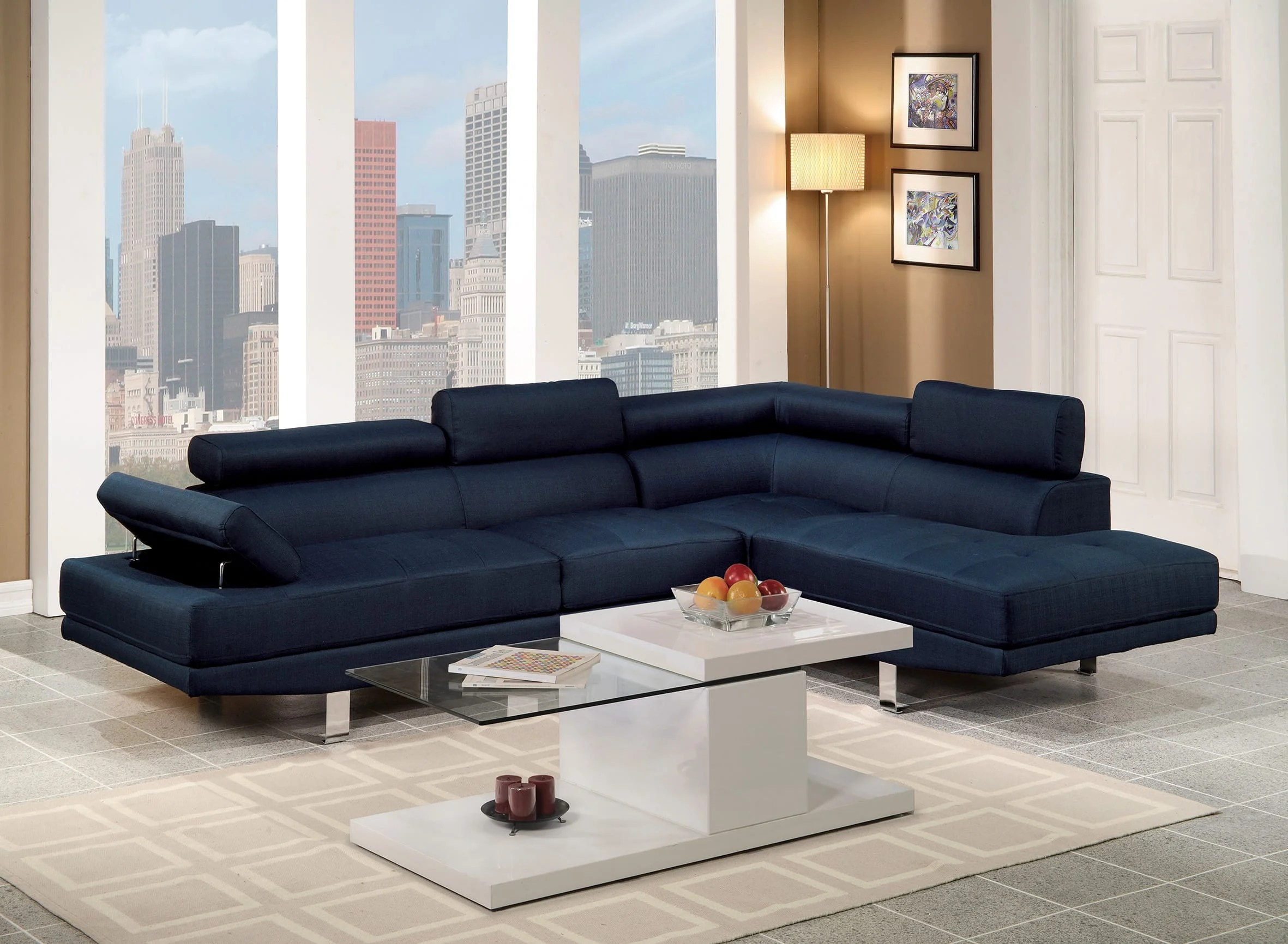 Blue Sectional F7569 Blue Sectional Sofa By Poundex