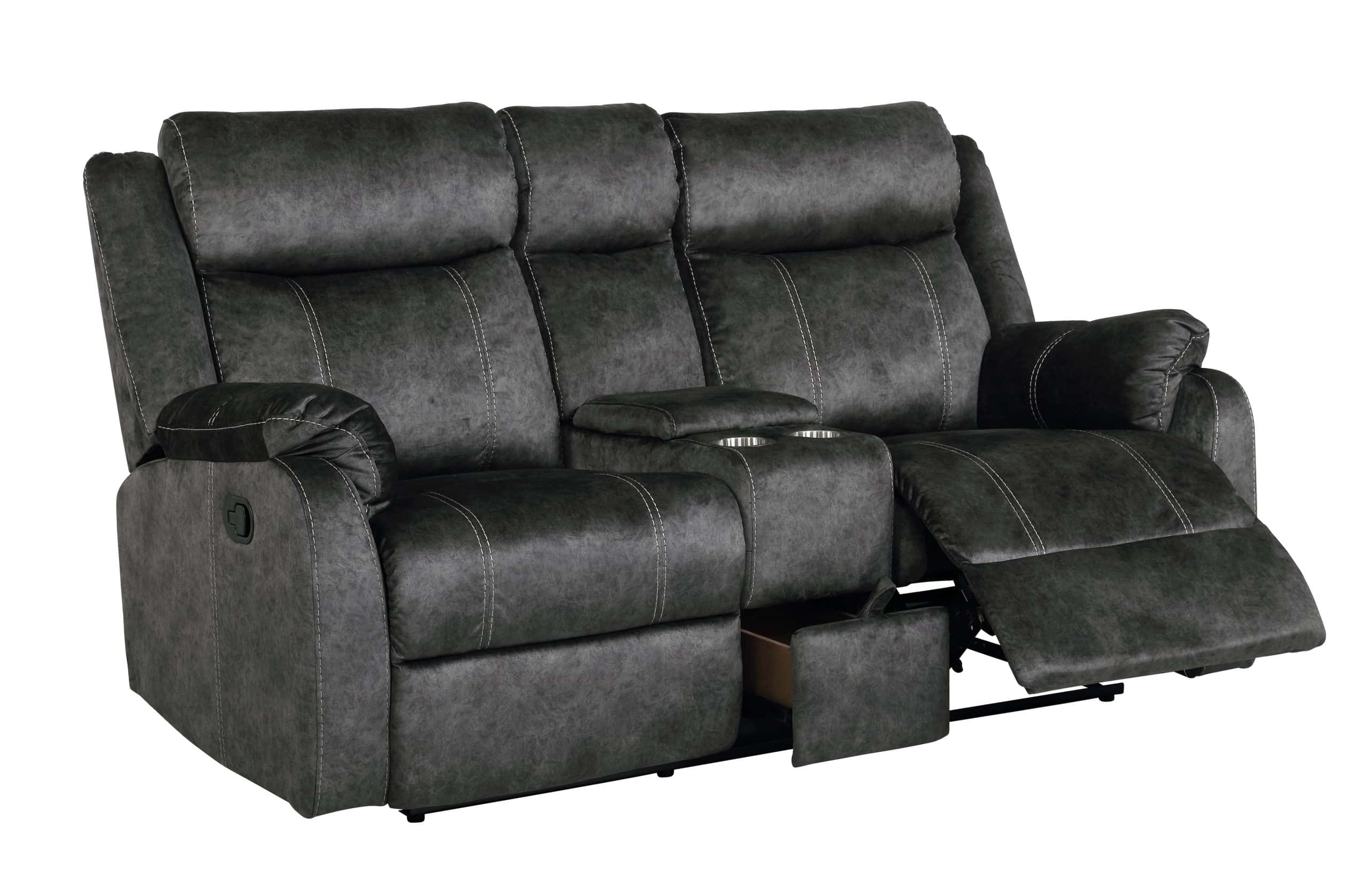 U7303 Domino Granite Microfiber Reclining Sofa By Global Furniture
