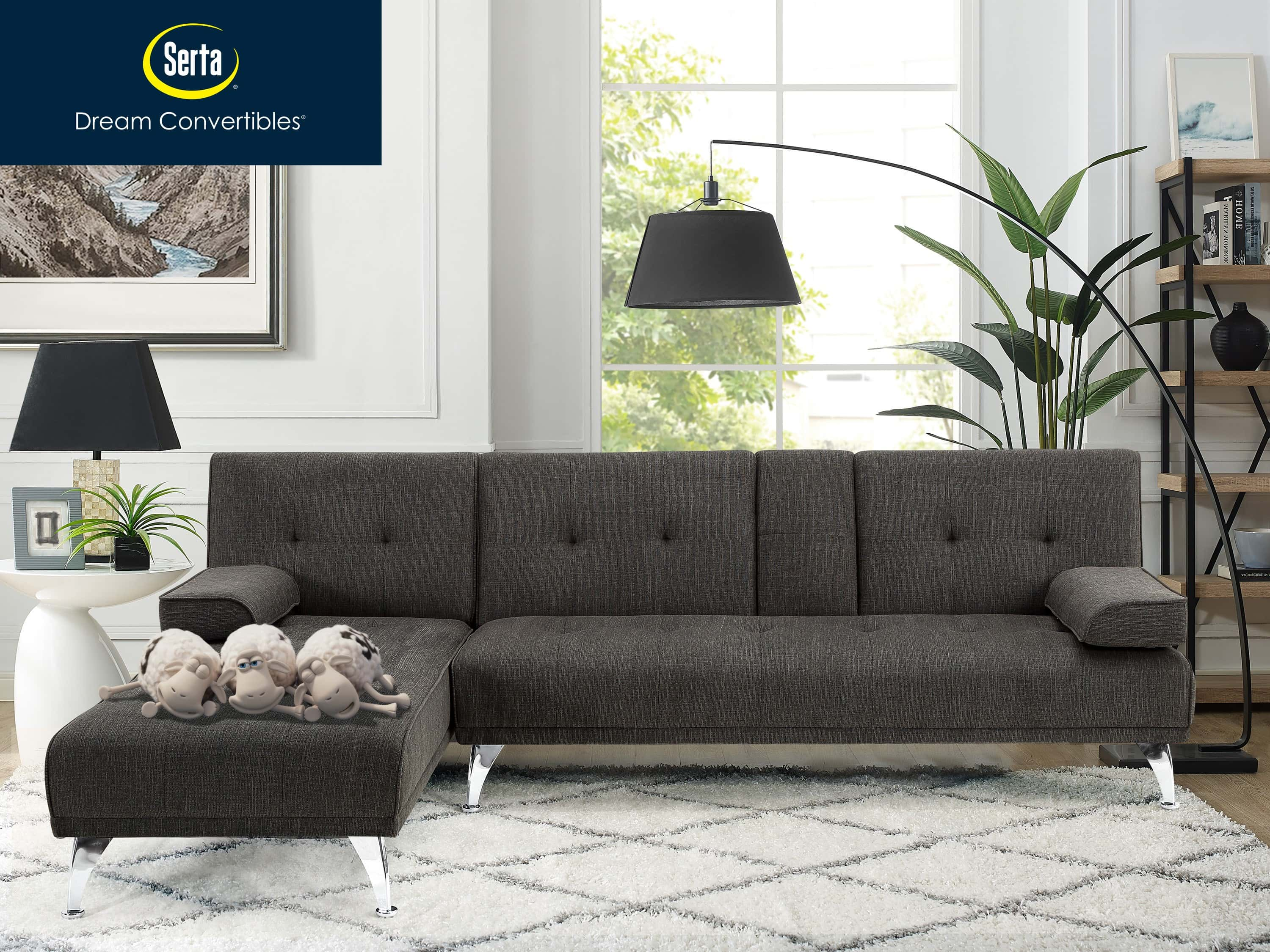 Serta Malibu Charcoal Convertible Sofa Bed By Lifestyle Solutions