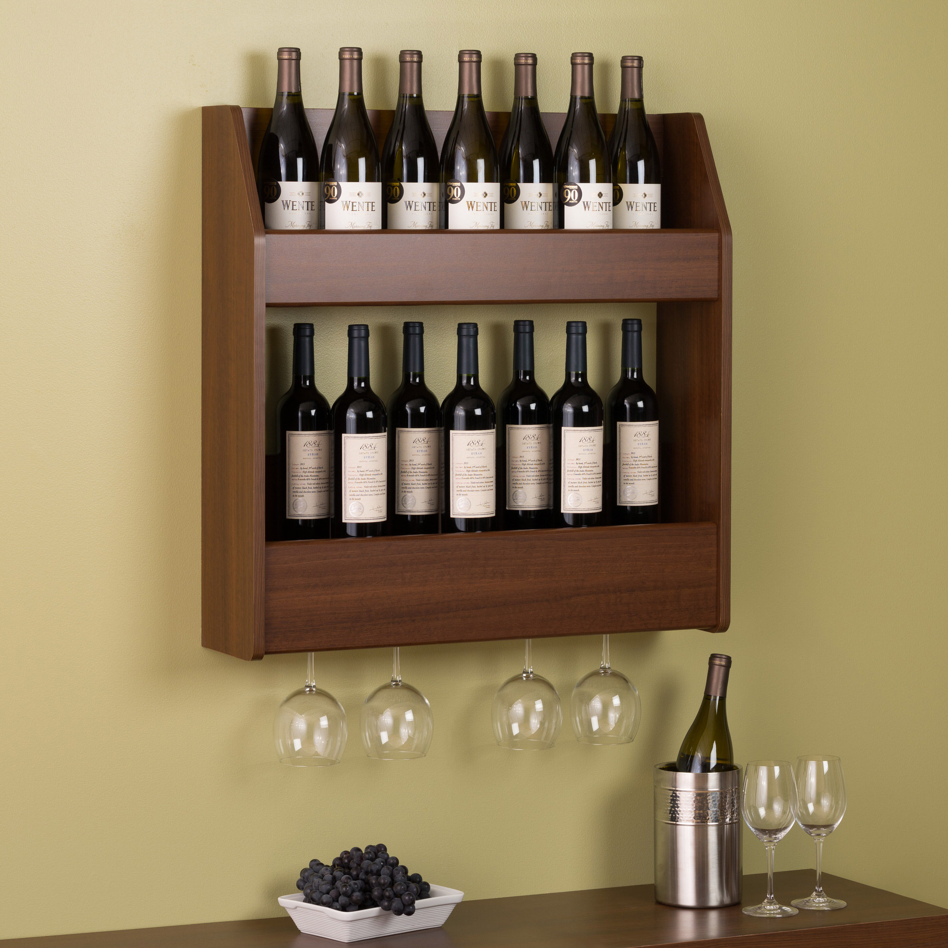 Wine Rack Built Into Wall 2 Tier Floating Wine And Liquor Rack By Prepac