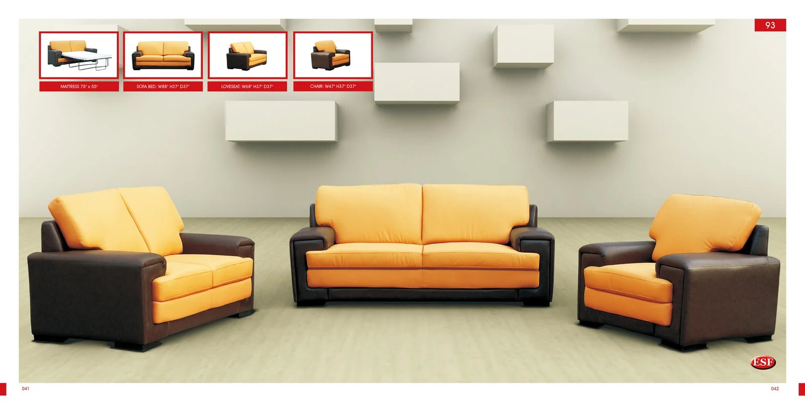 Sofa Bed 93 Yellow Leather By Esf