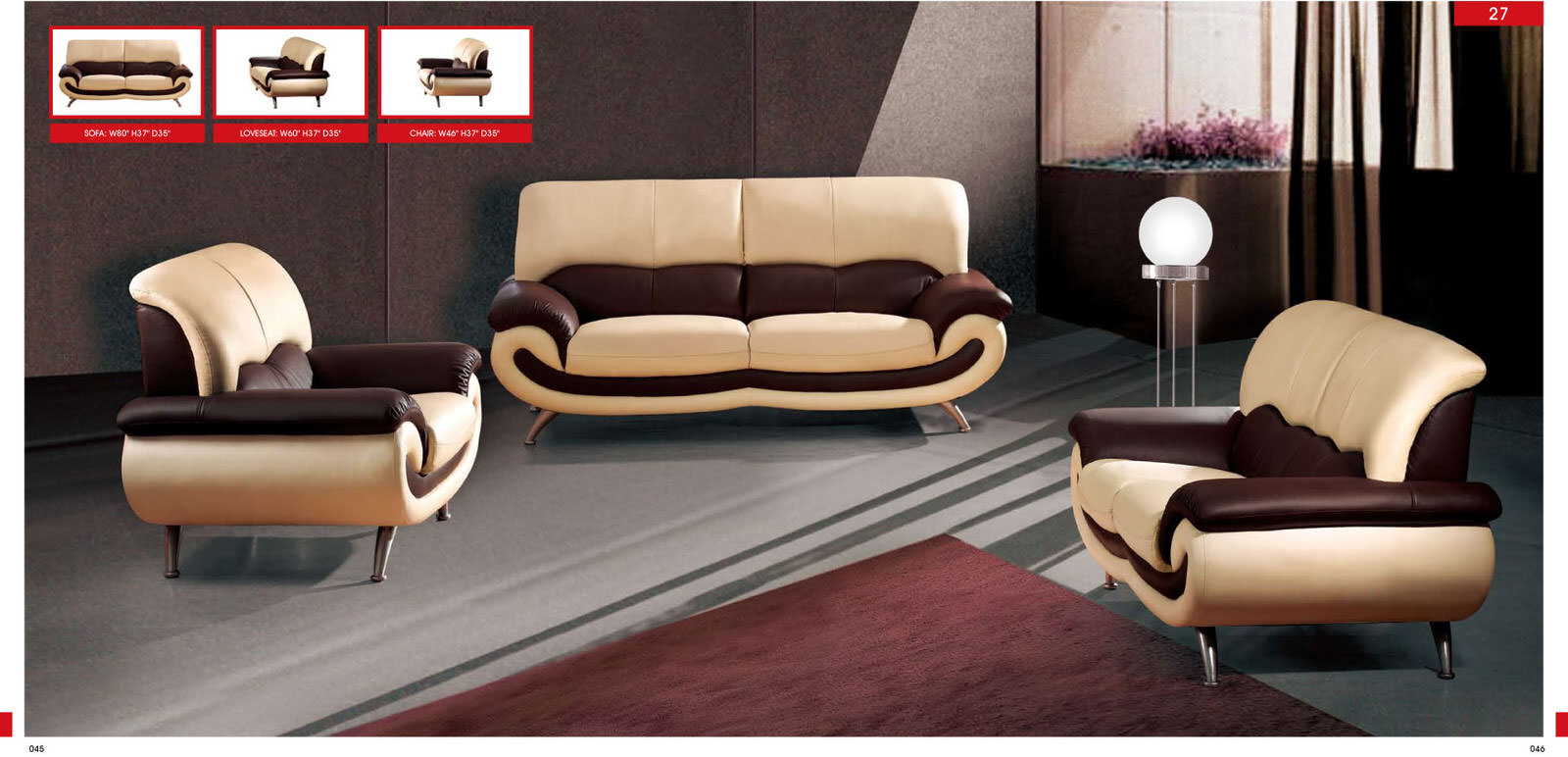 Villa Romantica - Cucina Italiana 82140 Olching Brown And Cream Leather Sofas