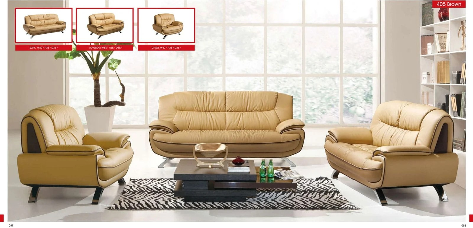 Altea 120 Sofa 405 Brown Leather Loveseat By Esf