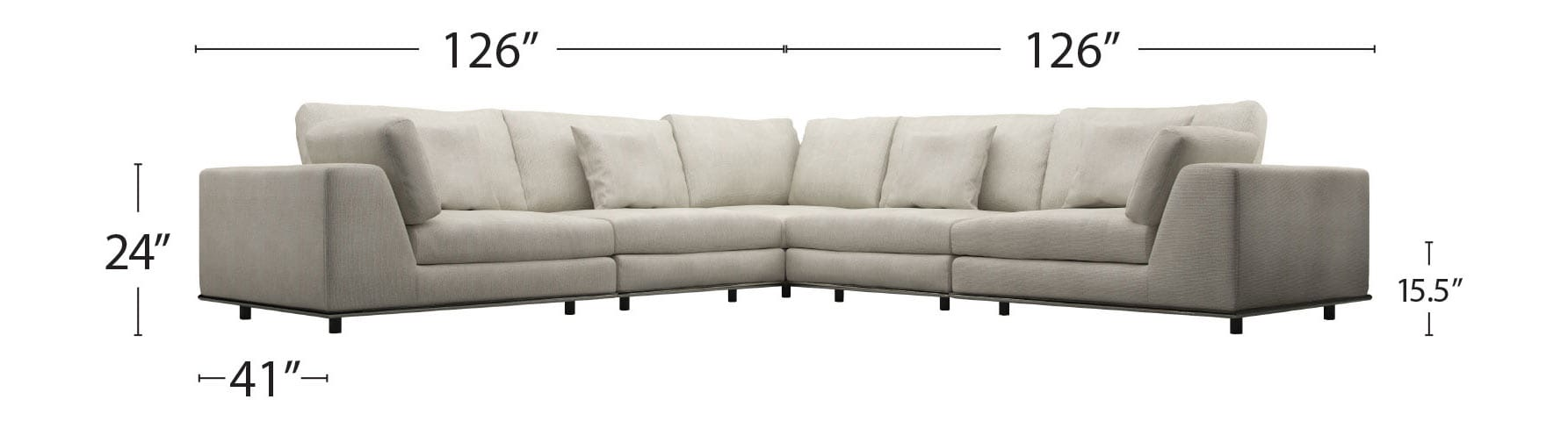 Sectional Corner Couch Perry 2 Arm Corner Sectional Sofa Moonbeam By Modloft
