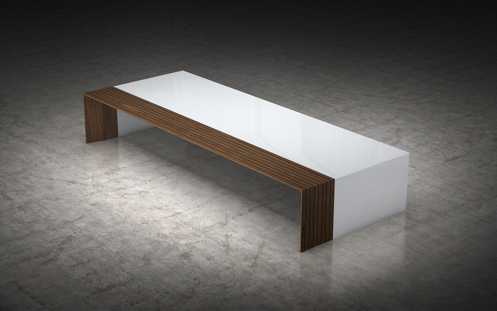 Beckenham Coffee Table White Lacquer and Walnut by Modloft