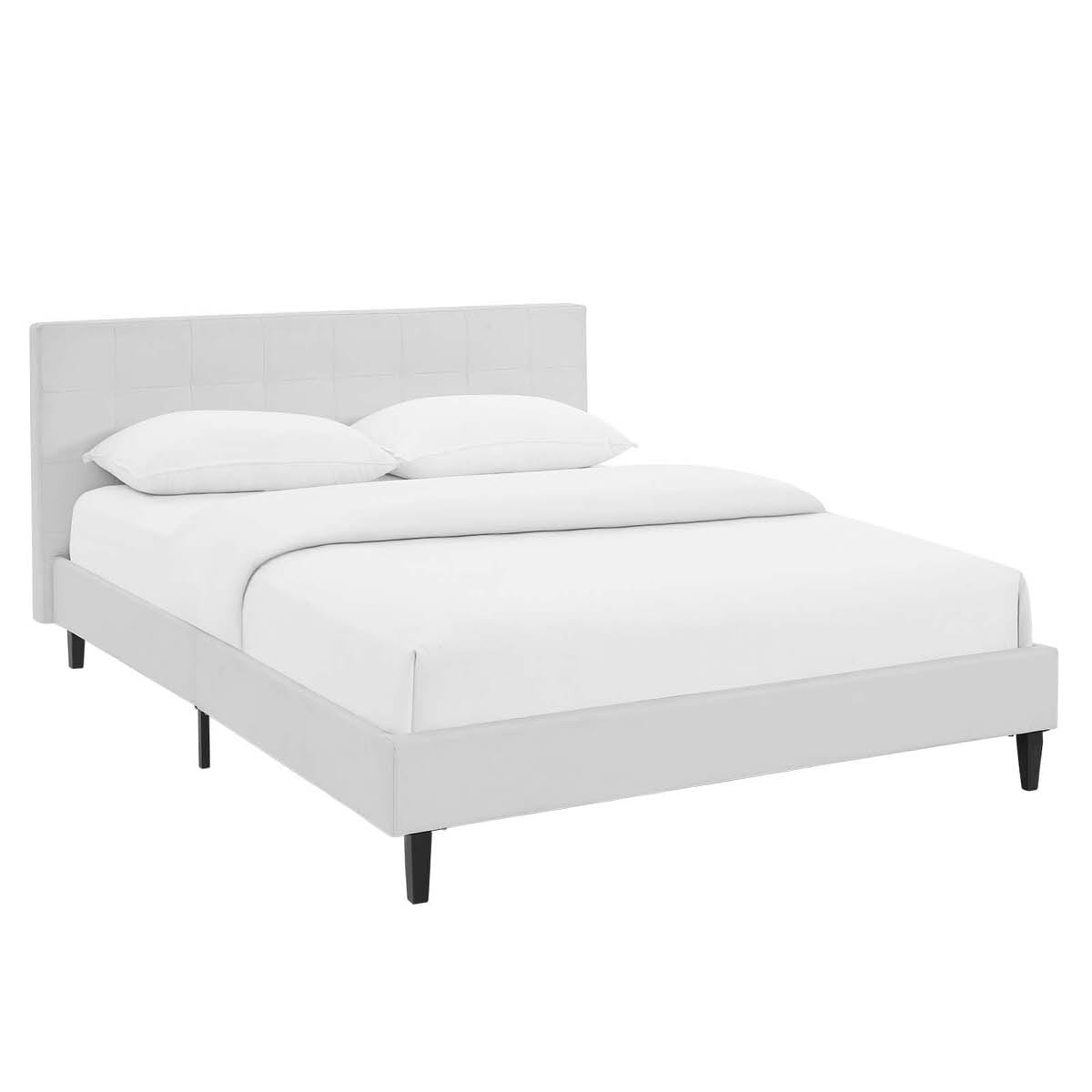 Leather Bed Linnea Full Faux Leather Bed White By Modern Living