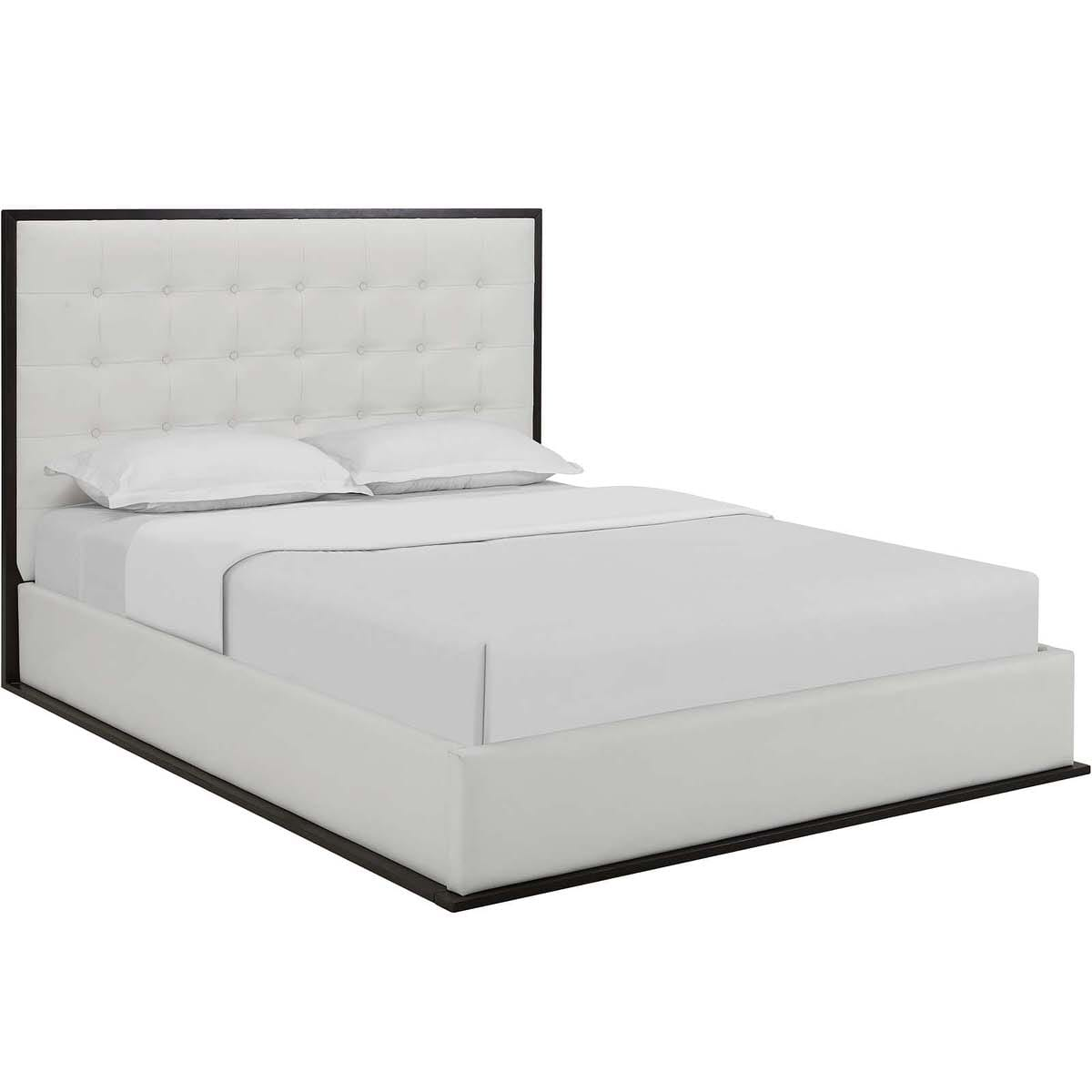 Queen Bed Frame Madeline Queen Vinyl Bed Frame Cappuccino White By Modern Living