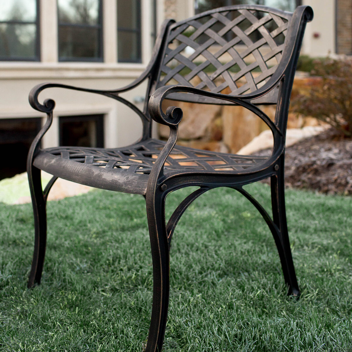 Backyard Chairs Antique Brown Cast Aluminum Patio Chairs Set Of 2 By Walker Edison
