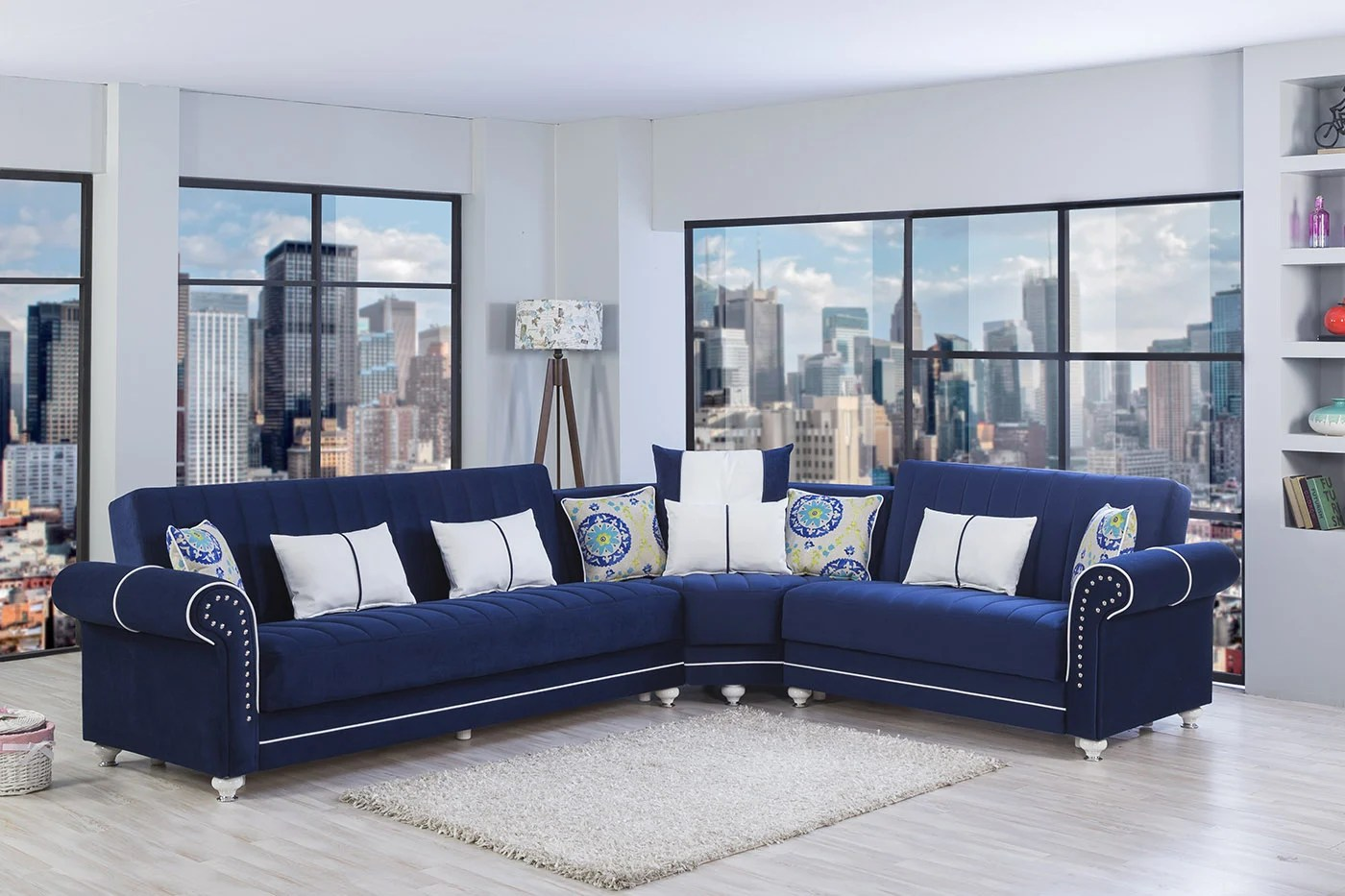 Blue Sectional Royal Home Riva Dark Blue Convertible Sectional By Casamode