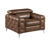 U8050 Walnut Leather Gel Chair by Global Furniture